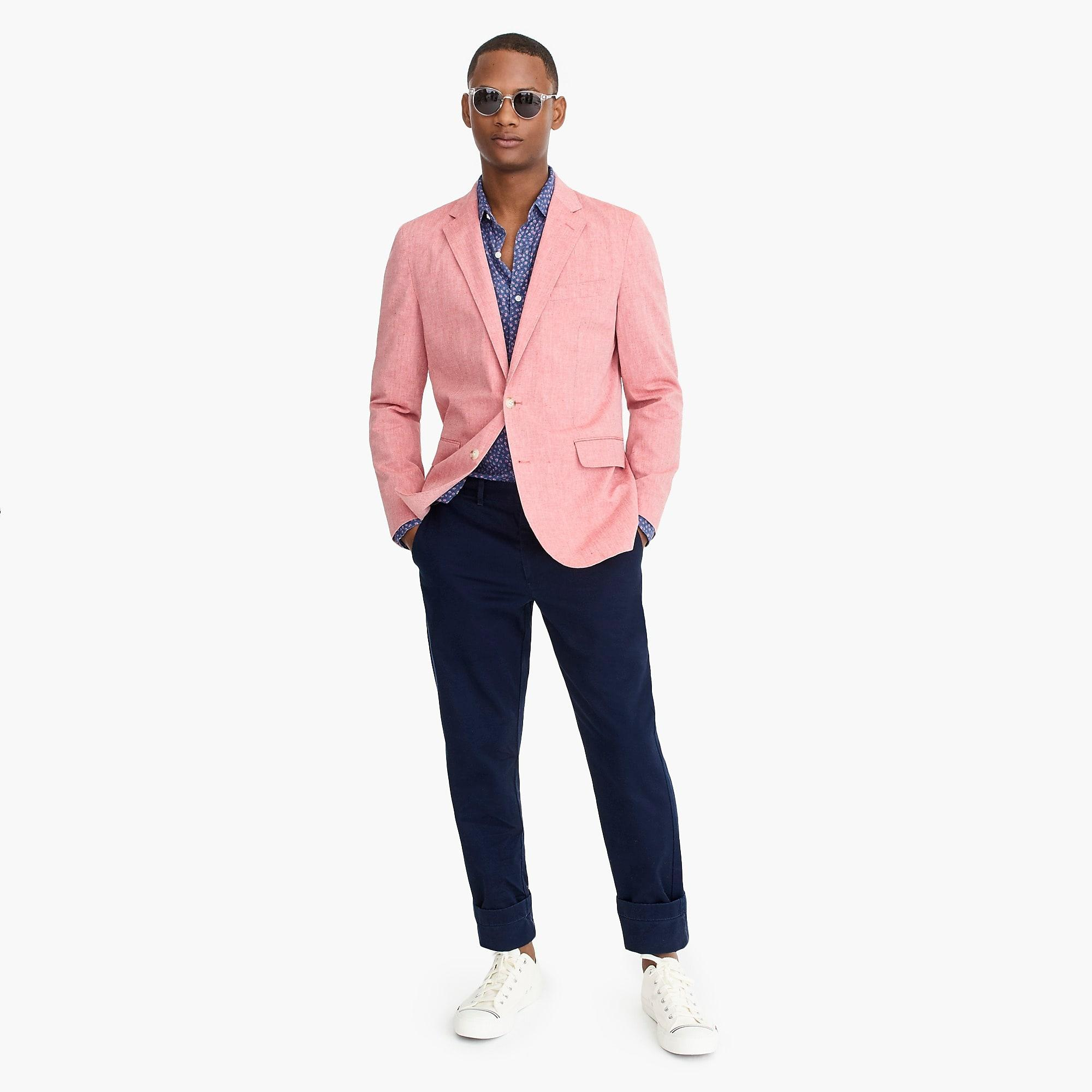 0ba377e68 J.Crew Ludlow Slim-fit Unstructured Blazer In Cotton-linen in Pink ...