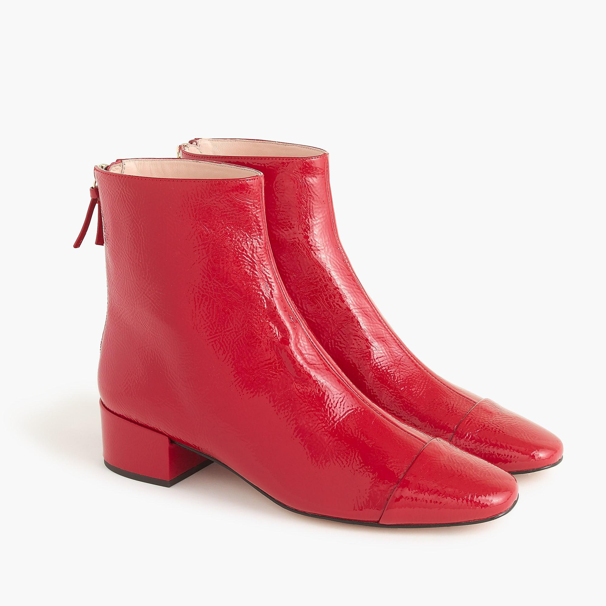 Jcrew Cap-Toe Ankle Boots In Patent Leather In Red - Lyst-6305