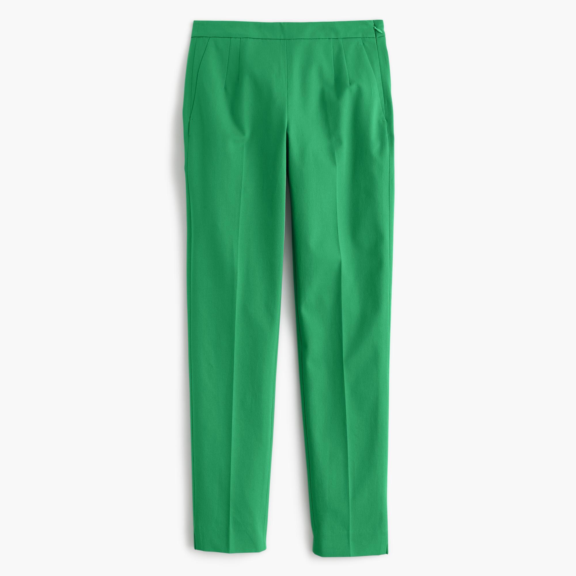 NEW WOMEN J CREW MARTIE SLIM CROP PANTS TWO WAY STRETCH COTTON WARM CLOVER GREEN