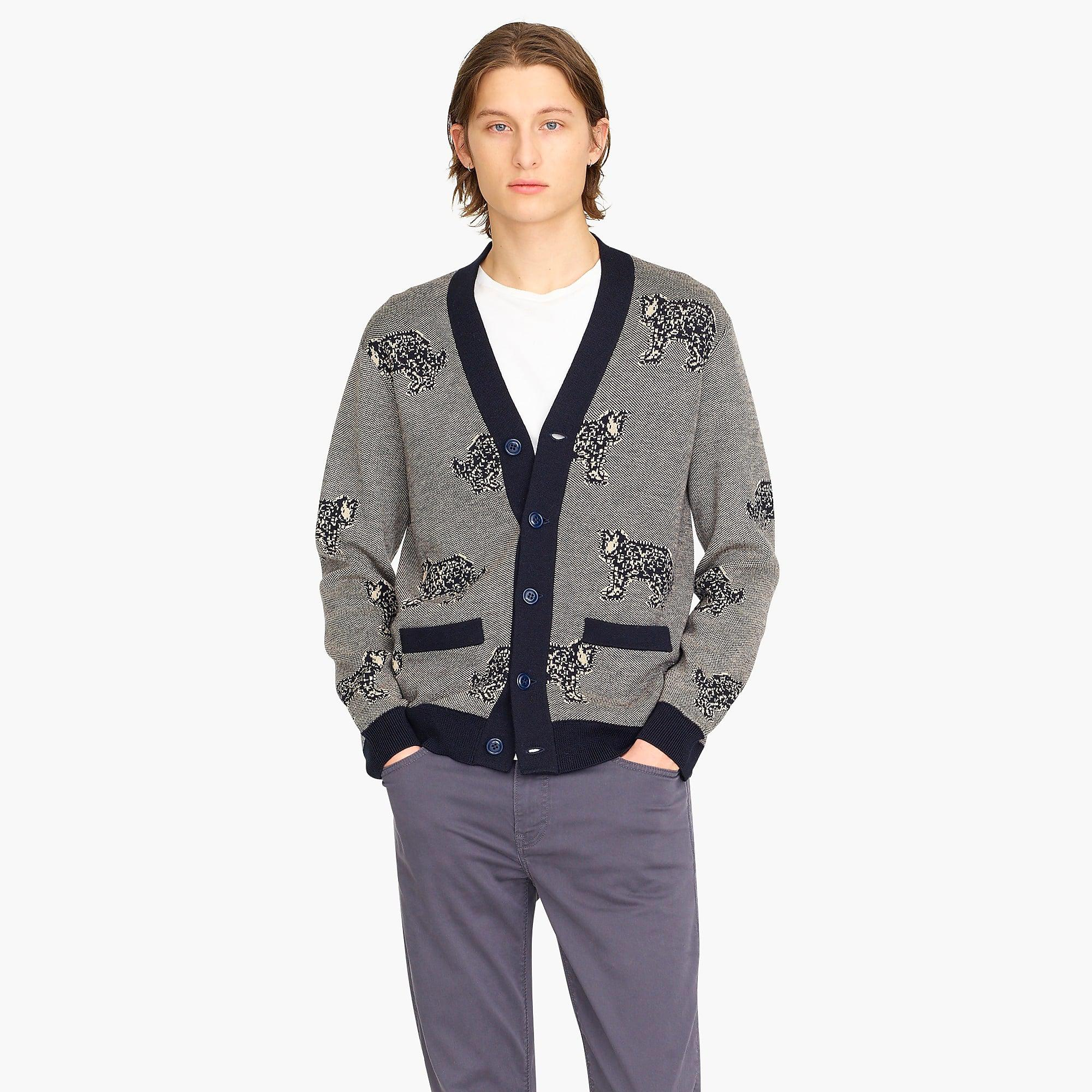 20877356d J.Crew Blue Destination Merino Wool Tiger Jacquard Cardigan Sweater for men