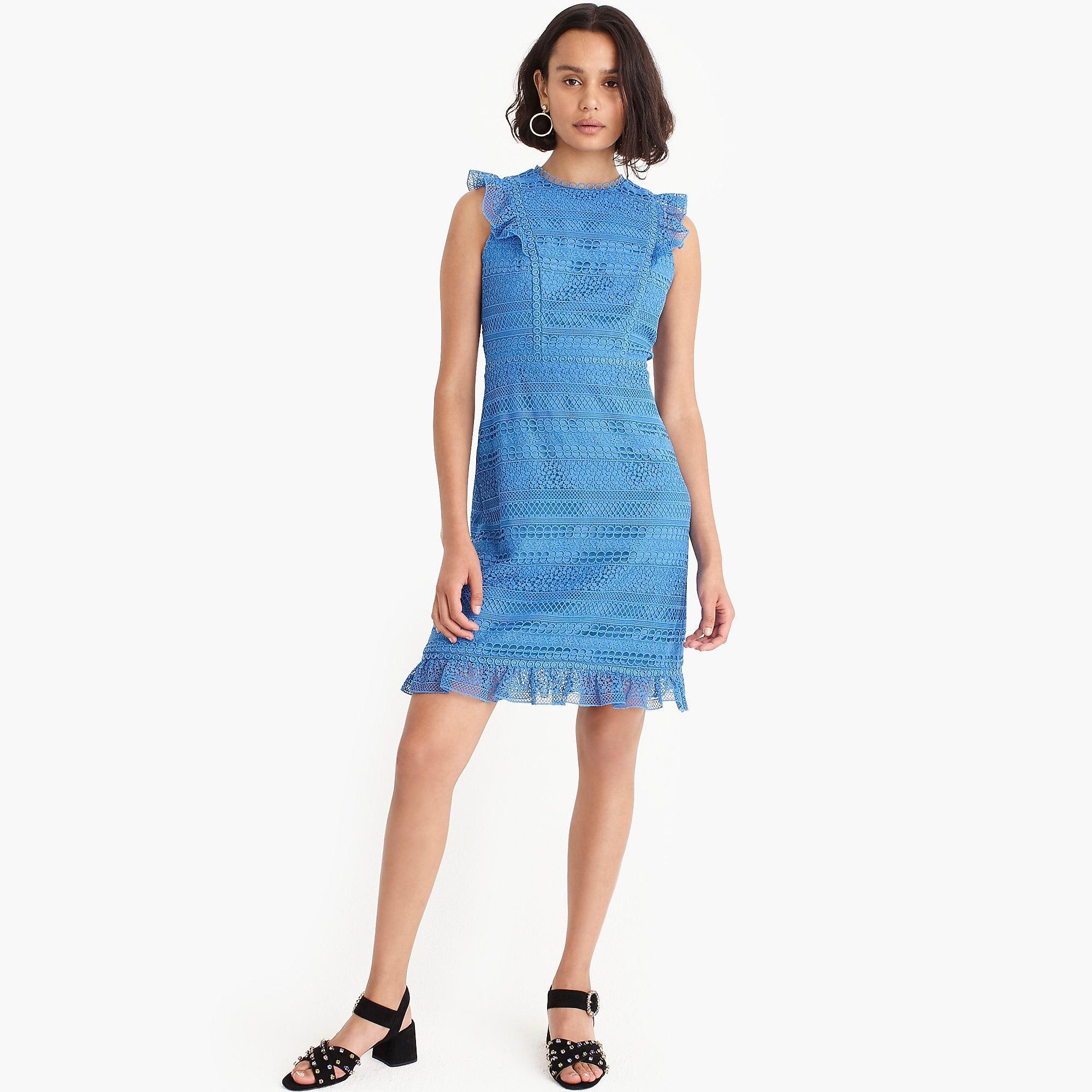 1372871ec98 Lyst - J.Crew Cap-sleeve Ruffle Dress In Mixed Lace in Blue