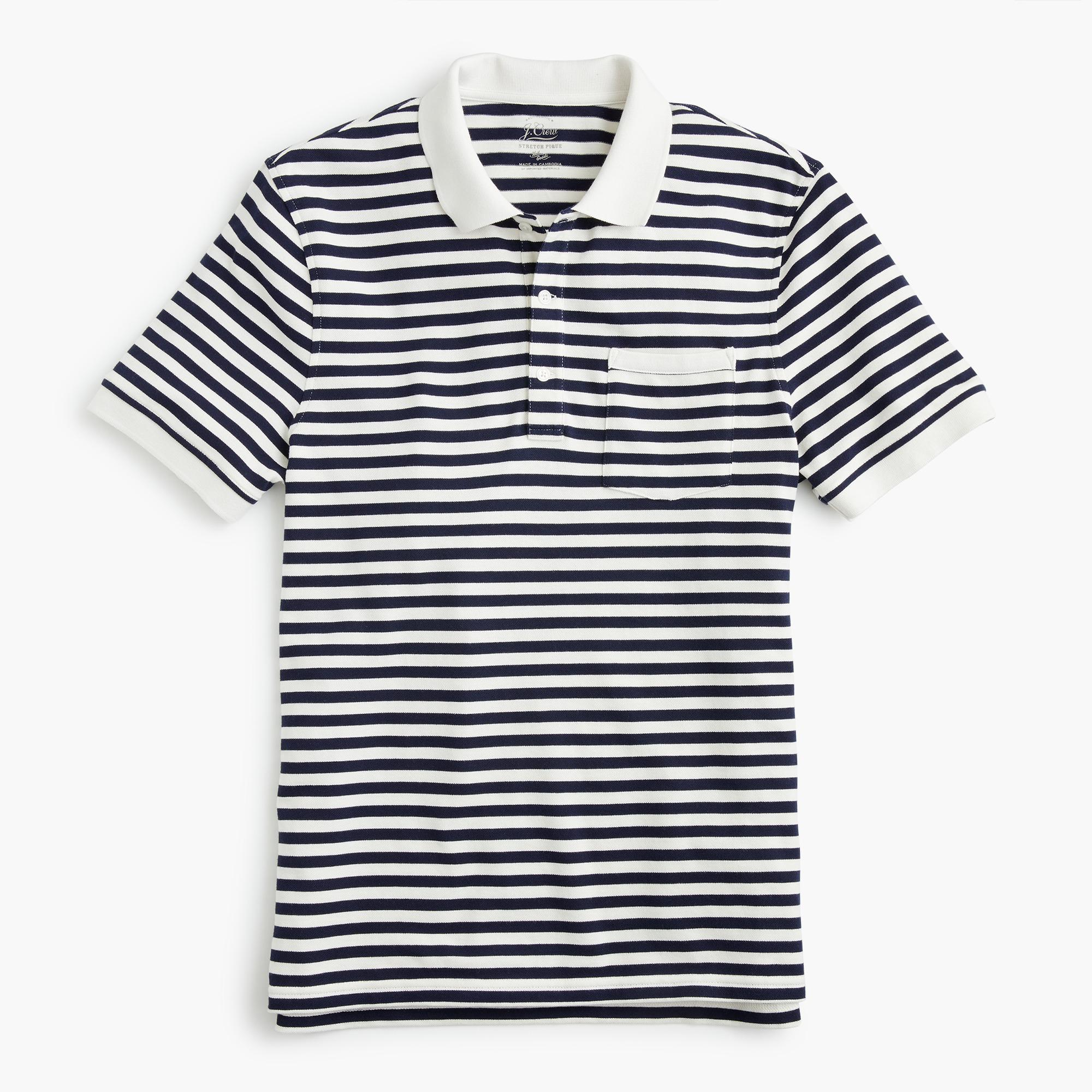 J.Crew Stretch Piqué Polo Shirt In Stripe in Ivory (White) for Men