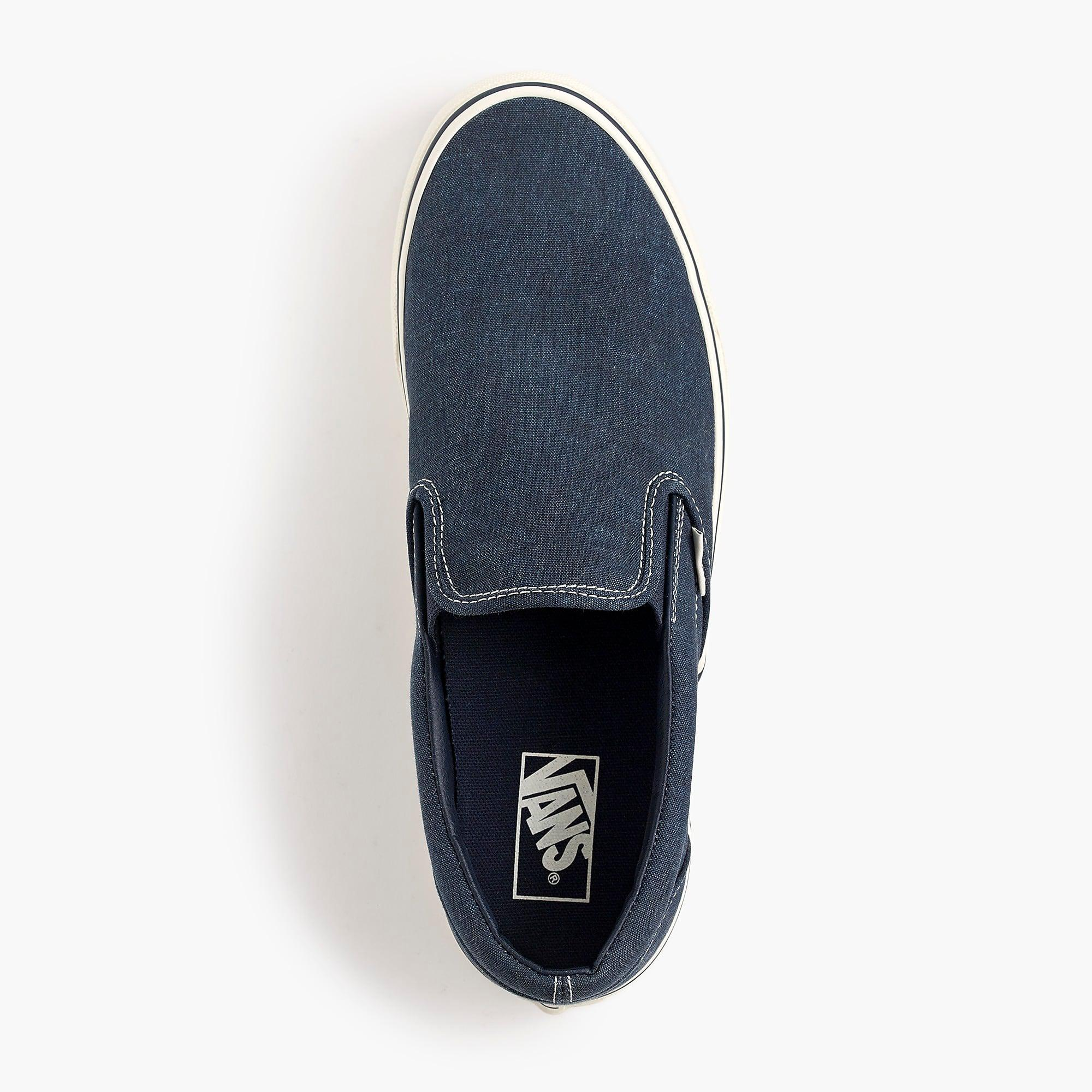 f7d8f808ee341f Vans. Men s Blue Washed Canvas Classic Slip-on Sneakers.  79 From J.Crew