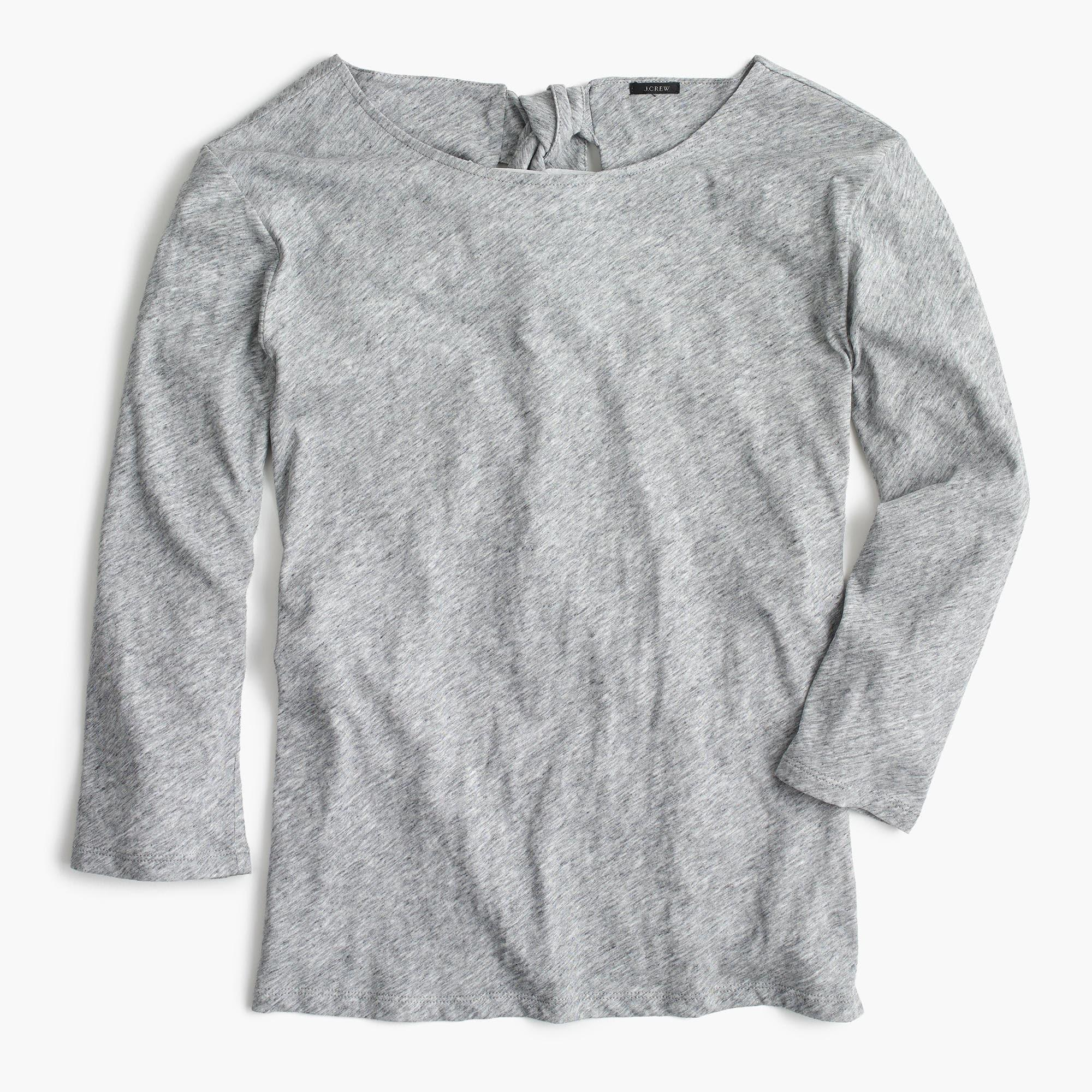 Tie back t shirt in gray lyst for How to make a tie back shirt