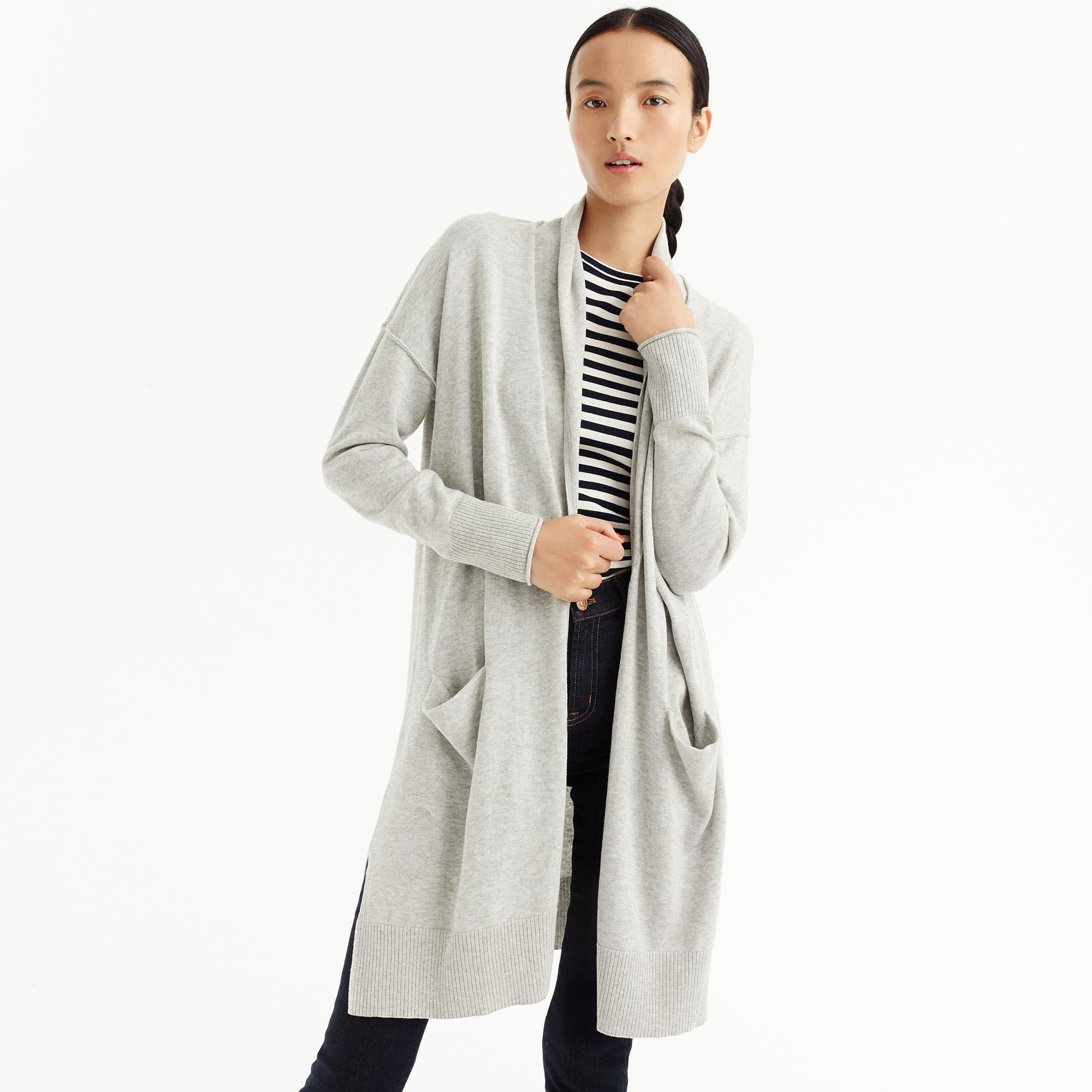 J.crew Long Open-front Cardigan Sweater in Gray | Lyst