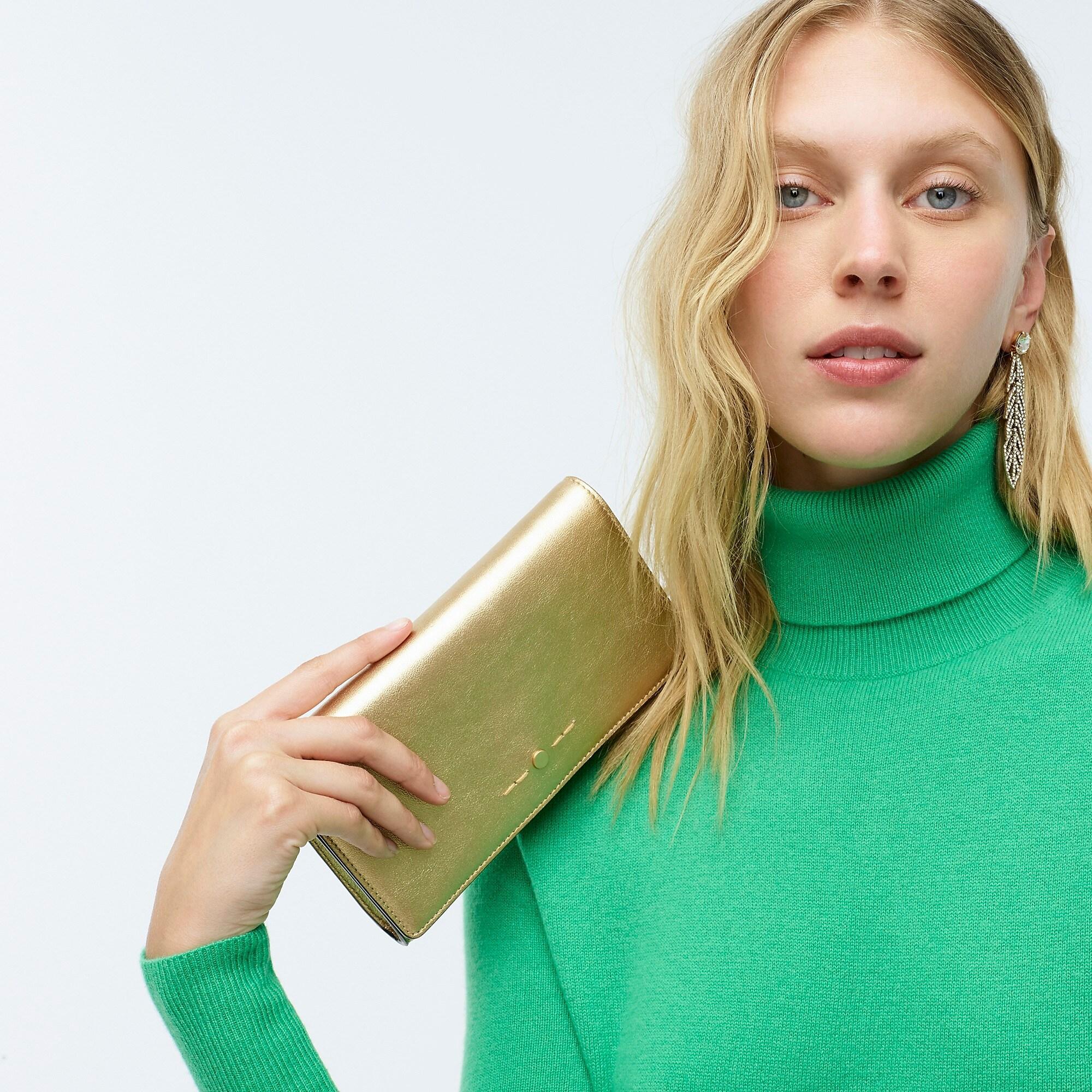 J Crew Convertible Wallet Bag In Metallic Leather Lyst