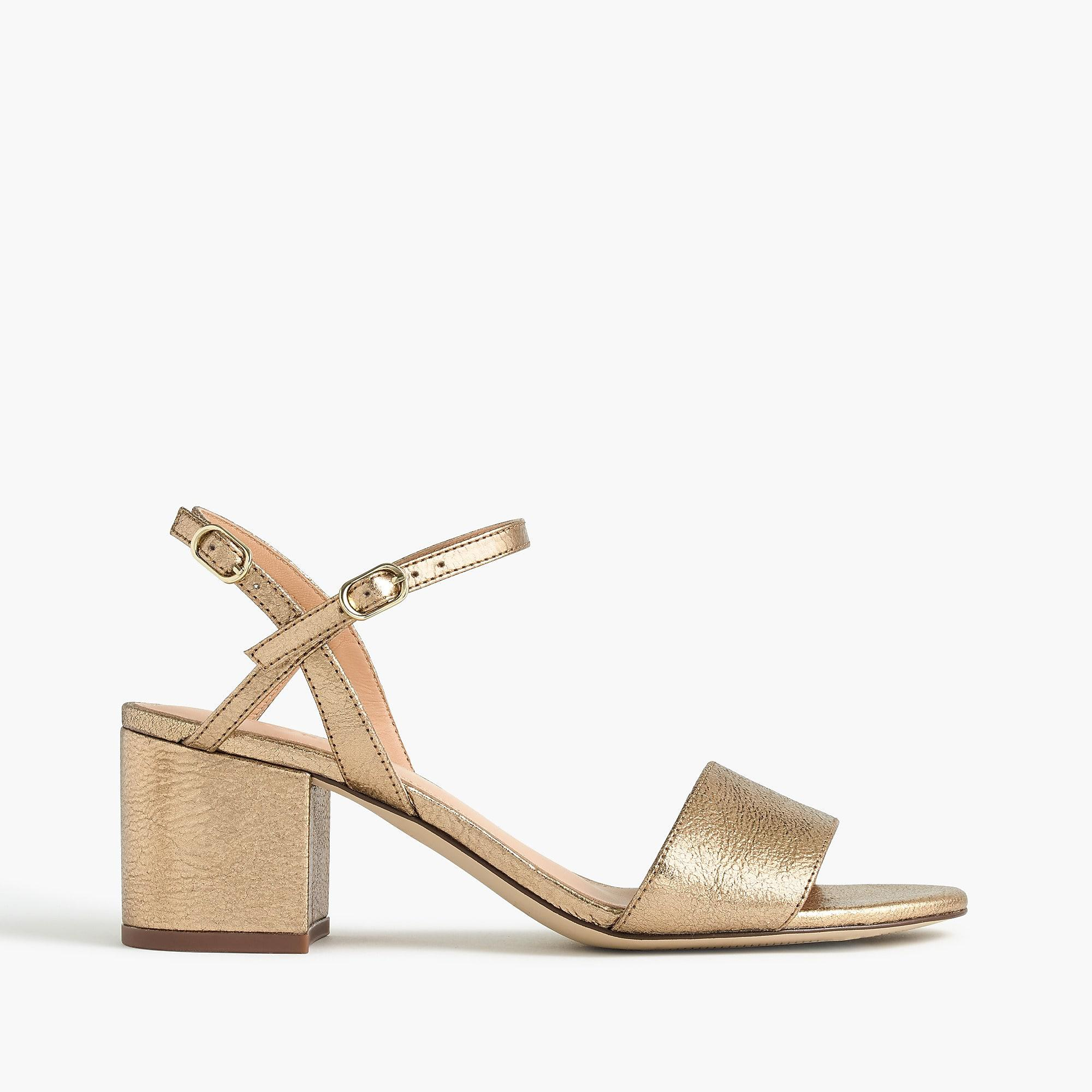 1913aa62903 J.Crew Strappy Block-heel Sandals (60mm) In Metallic Gold Leather in ...