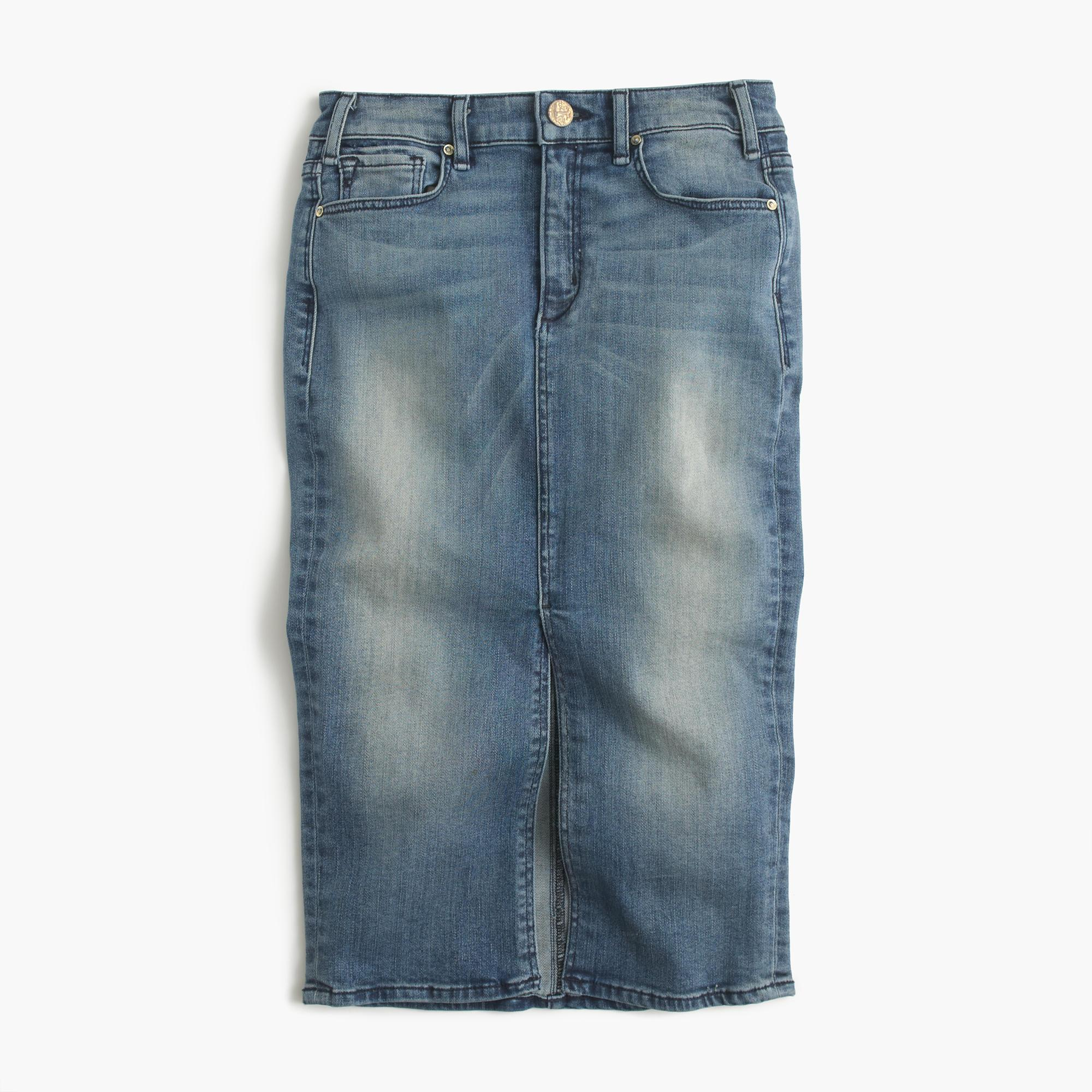 j crew mcguire marino denim skirt in royalist wash in blue