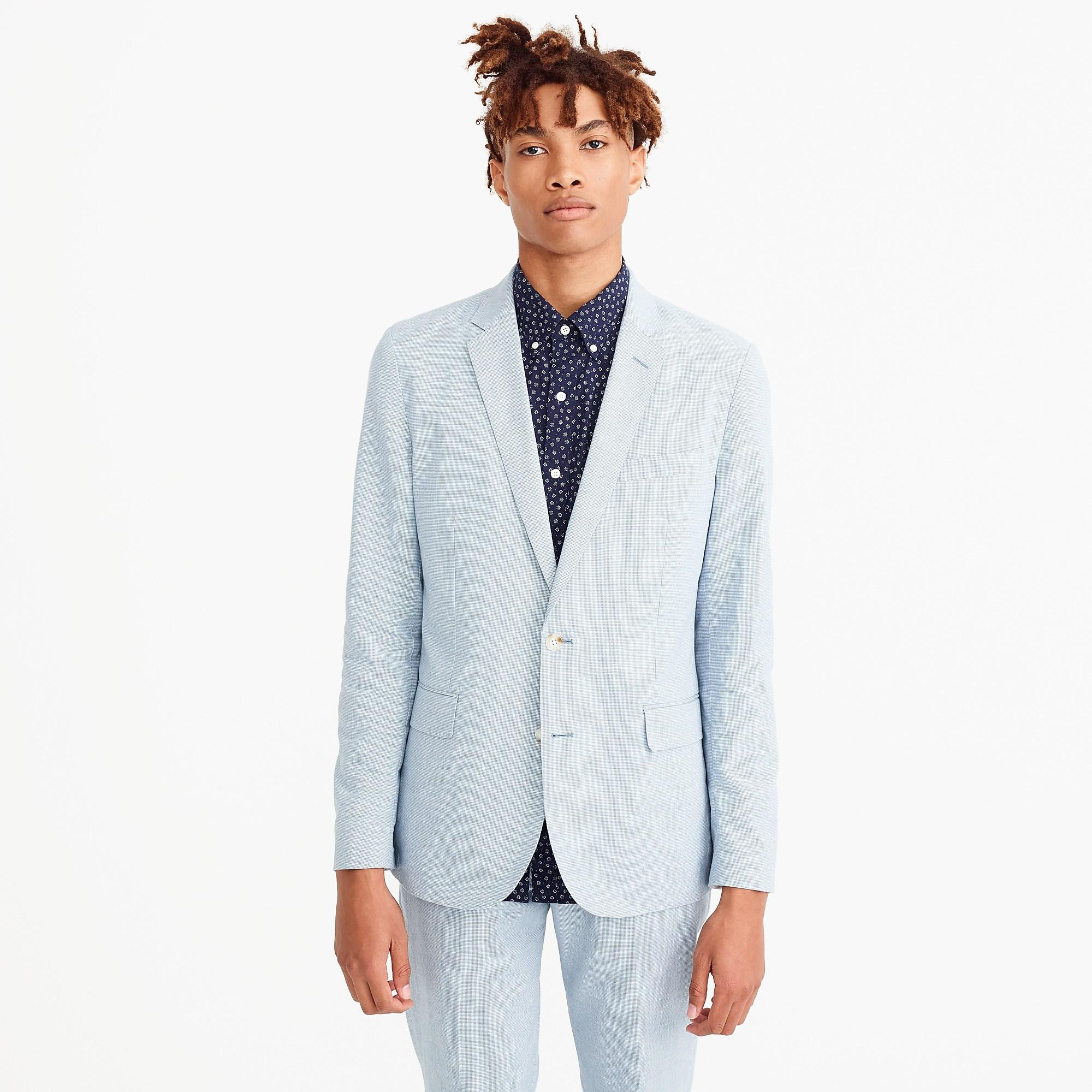 592d0443a J.Crew Blue Ludlow Slim-fit Unstructured Suit Jacket In Houndstooth  Cotton-linen for men