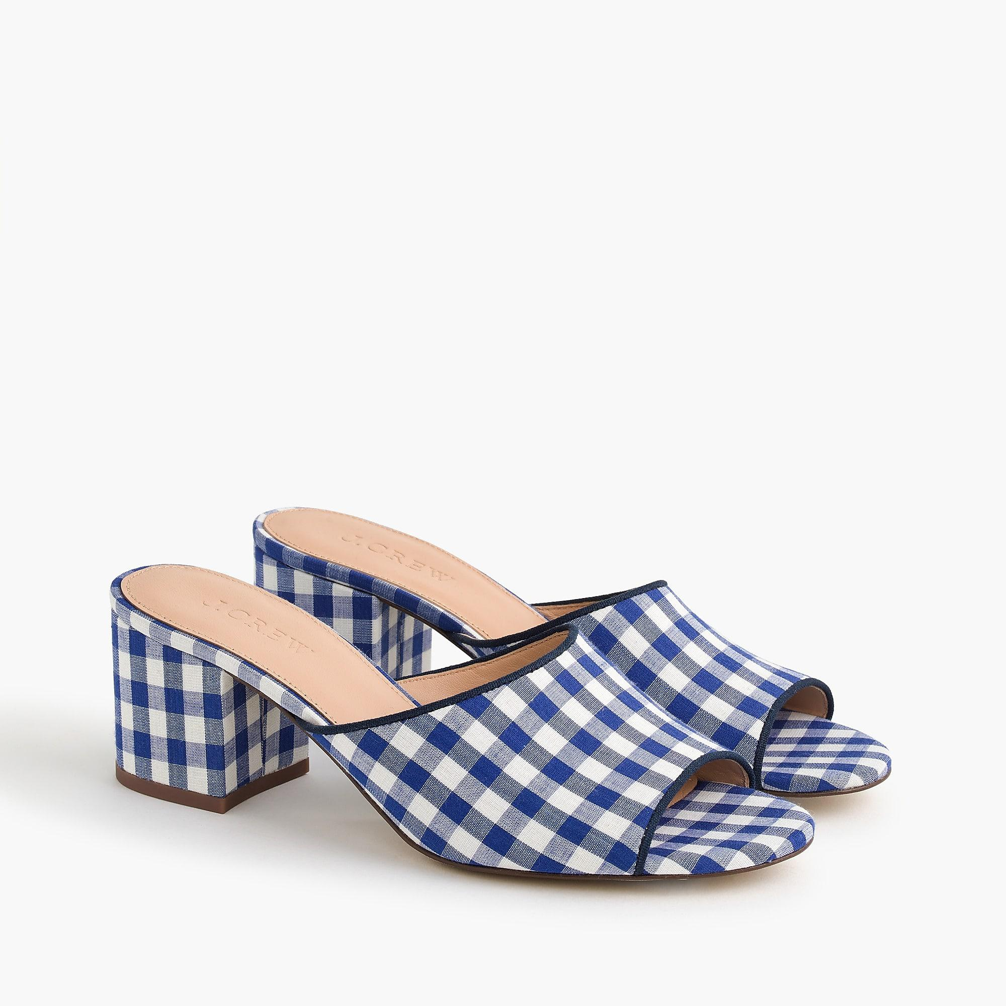J.CREWALL-DAY MULE IN GINGHAM - Heeled mules - blue/white xmiRvAYdTG