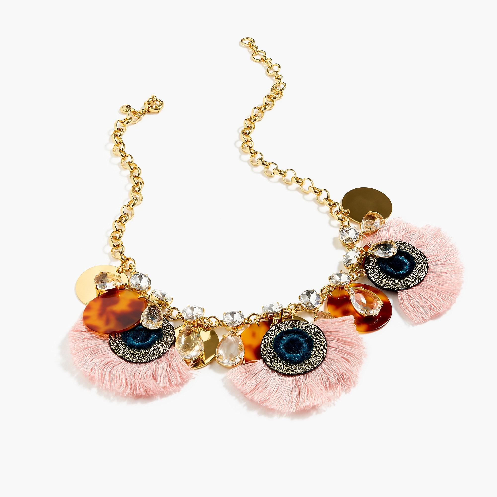 J.Crew Leather Fan Statement Necklace in Pink
