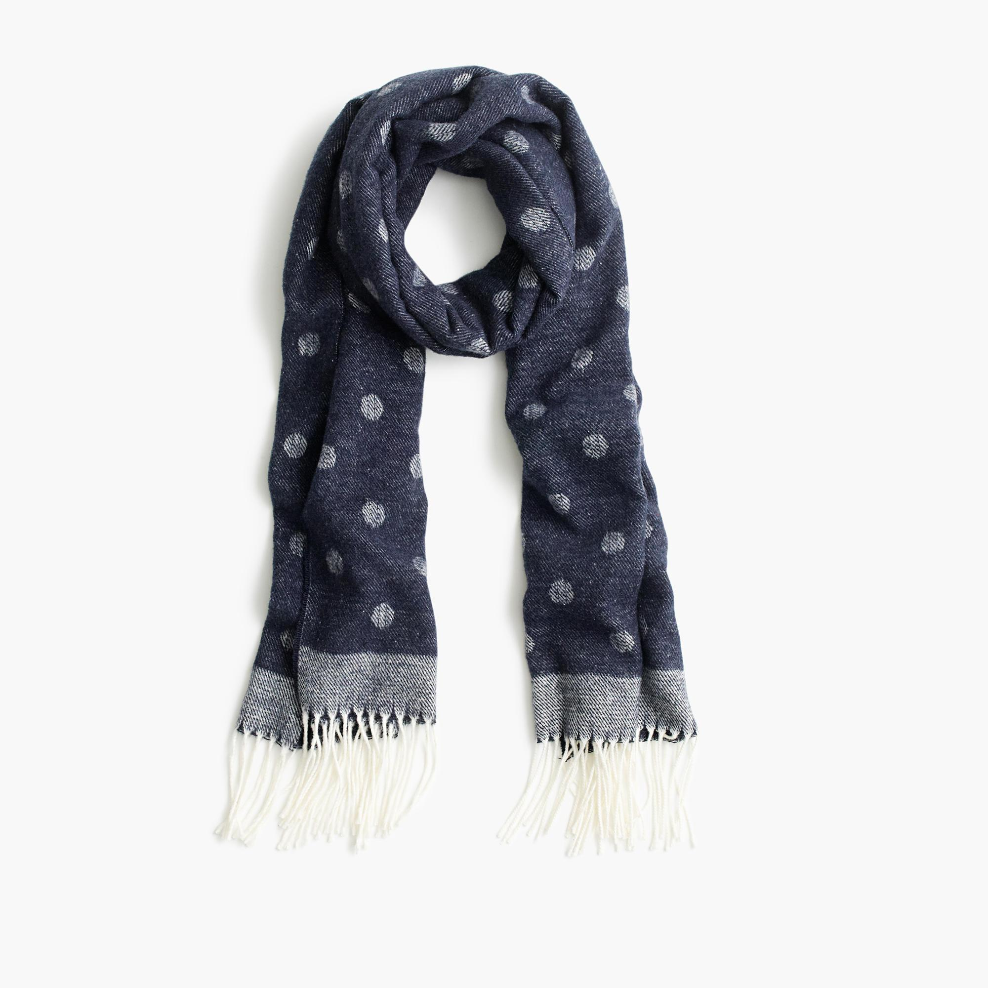 j crew brushed scarf with polka dots in blue lyst