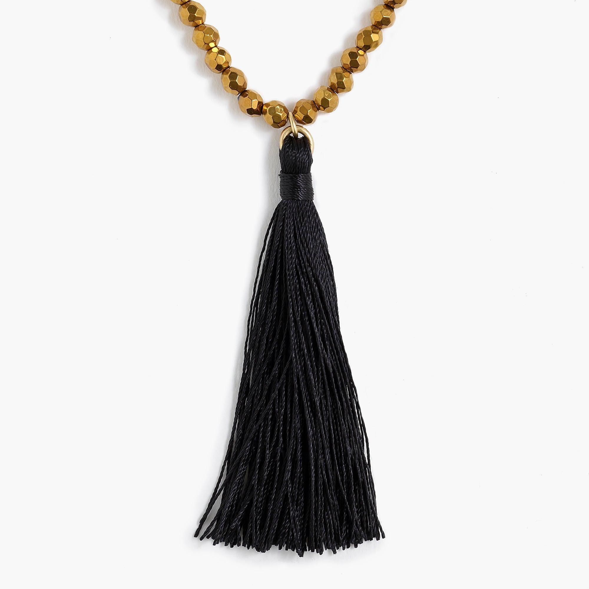 dc76654f8ec24d J.Crew Beaded Pendant Necklace With Thread Tassel in Black - Lyst