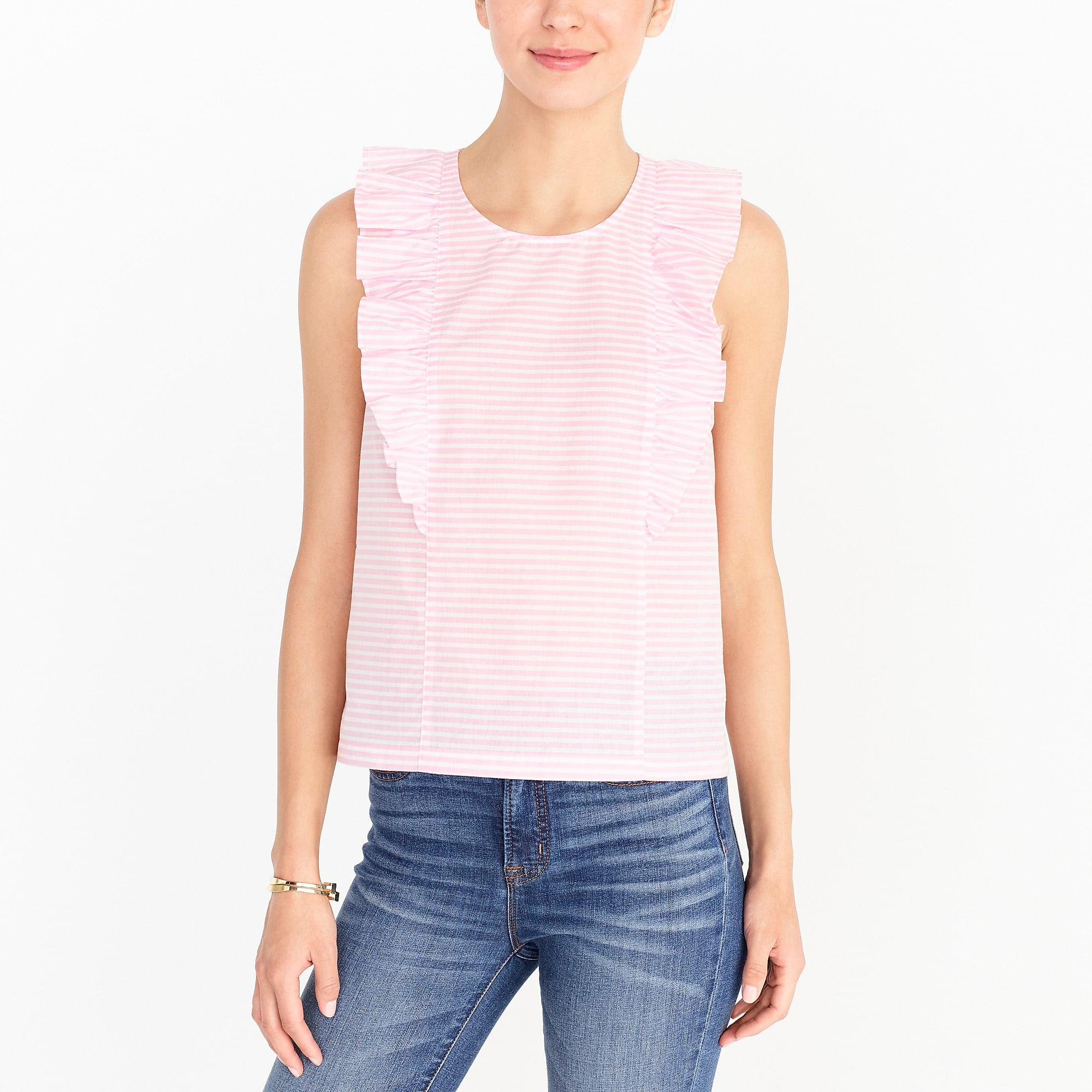 J.CREW WOMENS Stripe silk back linen tank top NWT jcrew grey pink S L