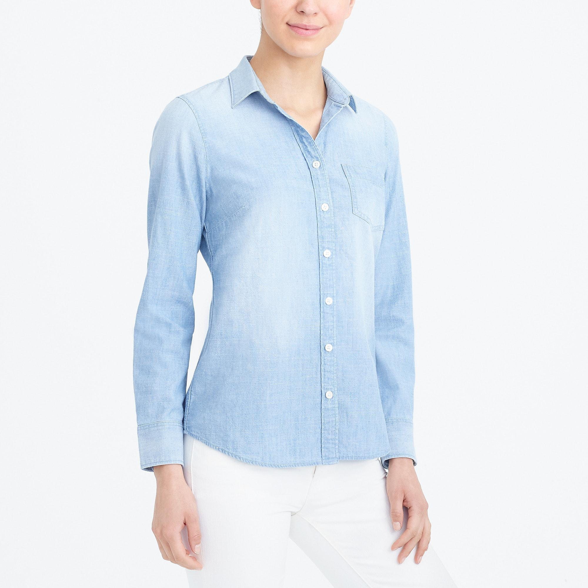 fe3be6f9 J.Crew Chambray Shirt In Perfect Fit in Blue - Lyst