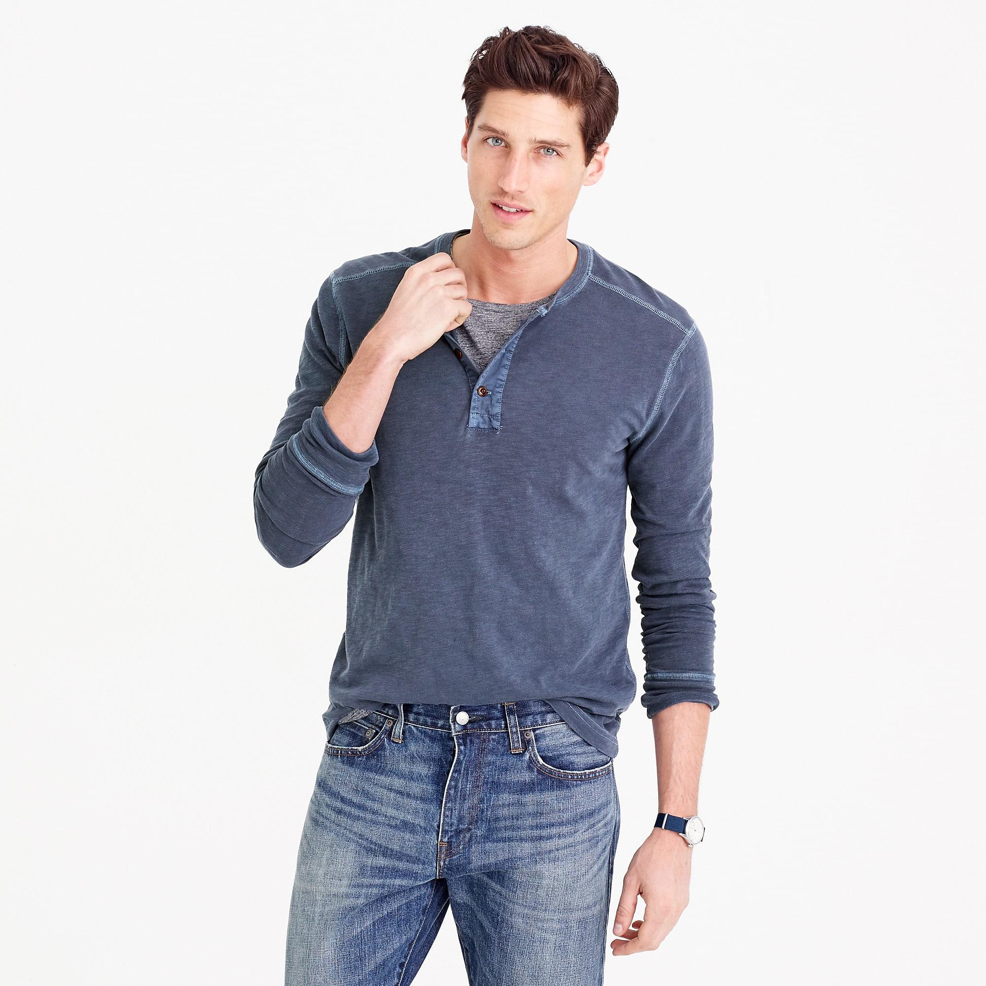 1bdef384 J.Crew Garment-dyed Henley in Blue for Men - Lyst