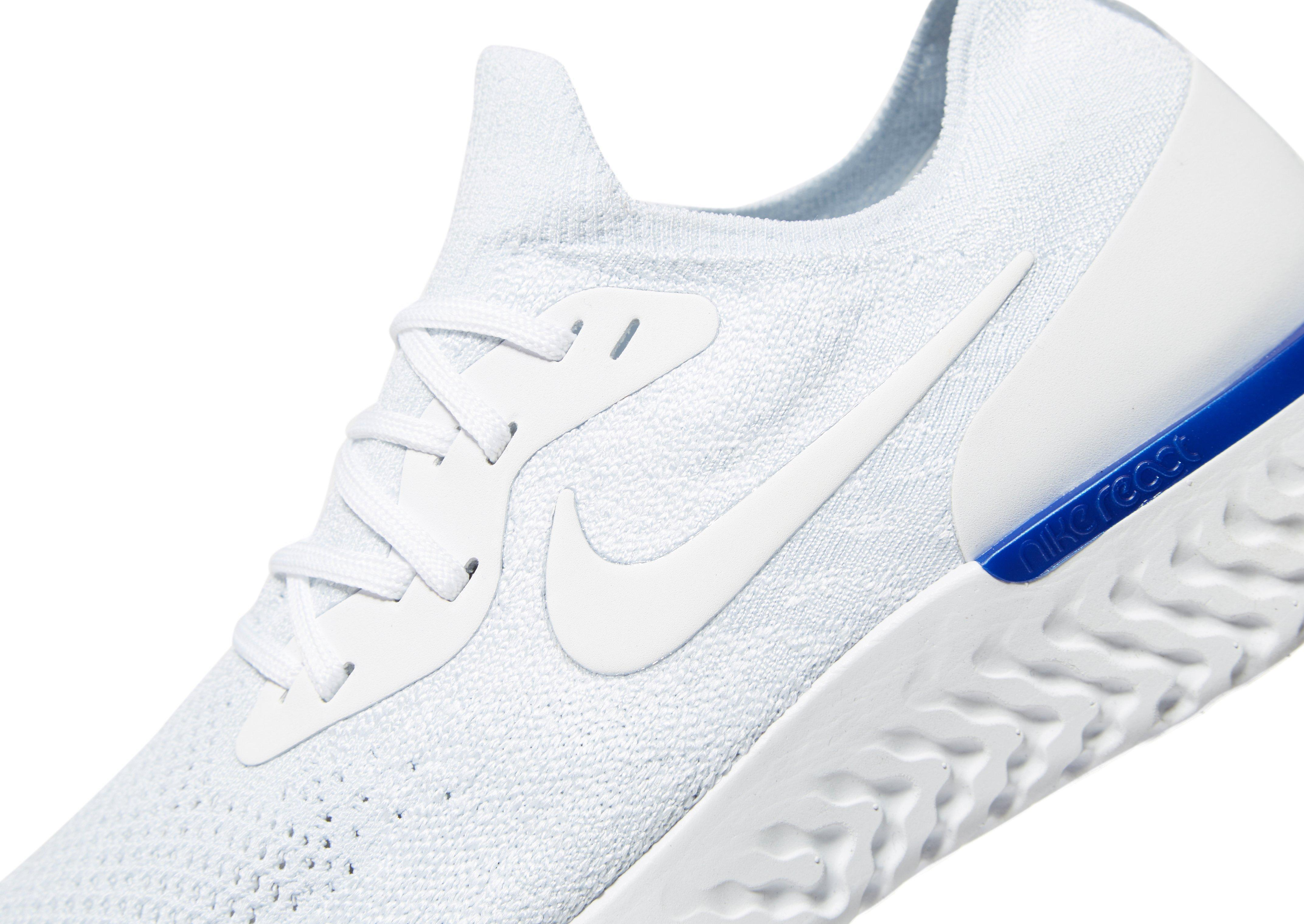 Nike Synthetic Epic React Flyknit Fitness Shoes in White/Blue (White) for Men