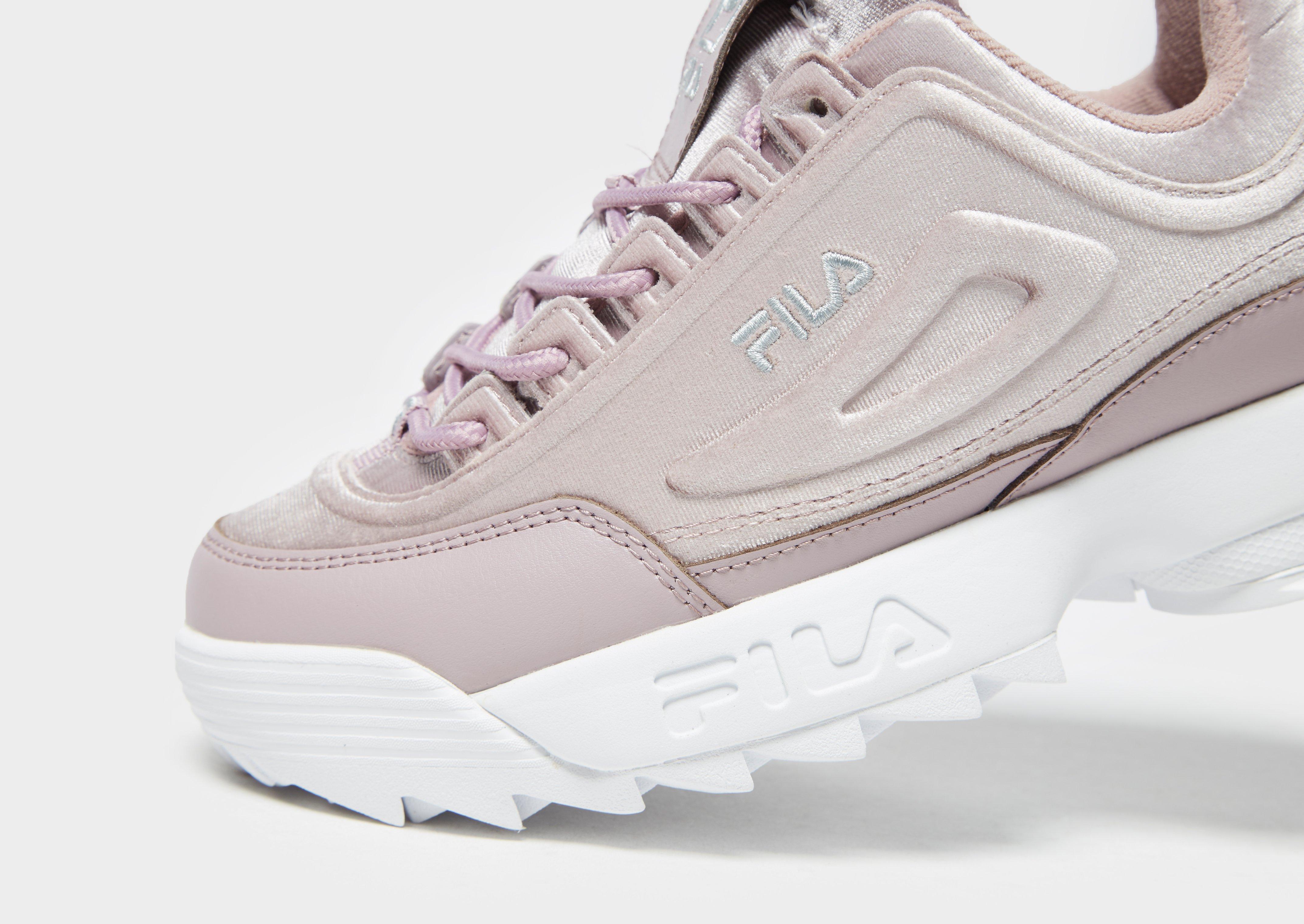 Fila Disruptor Velvet in Pink/Silver