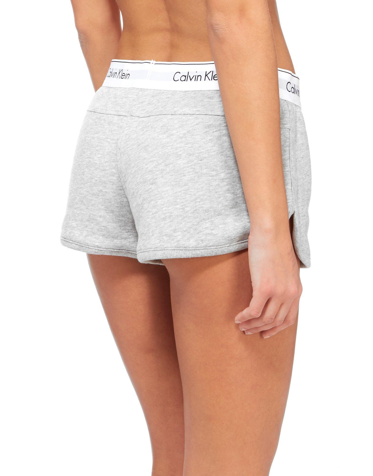 lyst calvin klein modern fleece shorts in gray. Black Bedroom Furniture Sets. Home Design Ideas