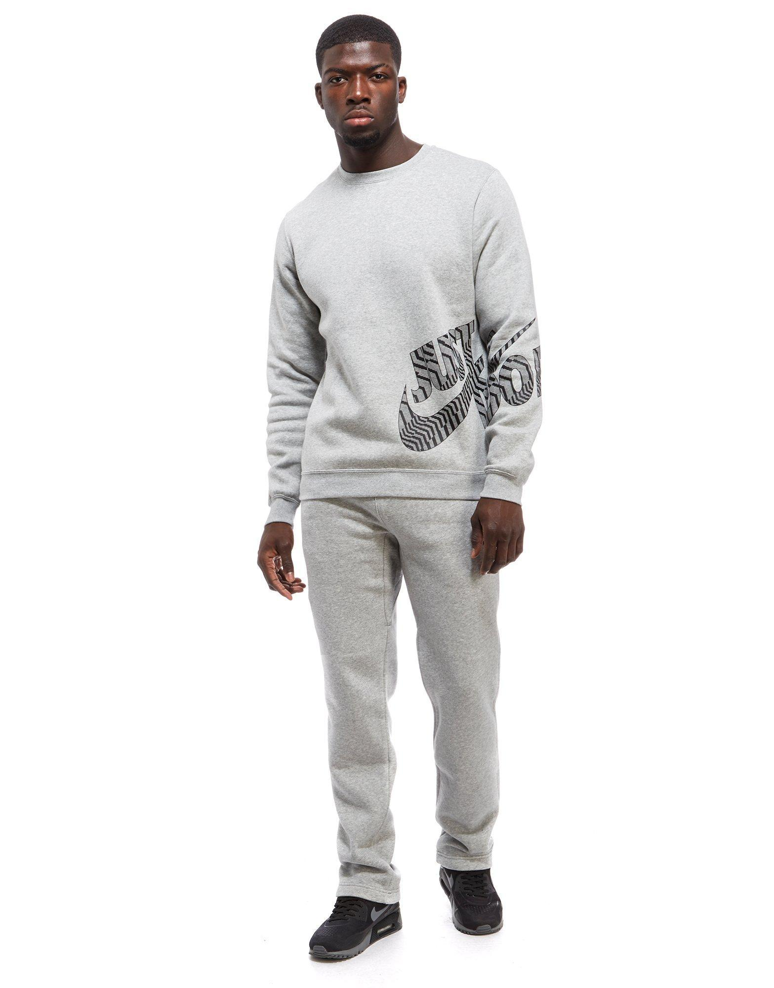 Nike Cotton Just Do It Logo Sweatshirt in Grey/Black (Grey) for Men