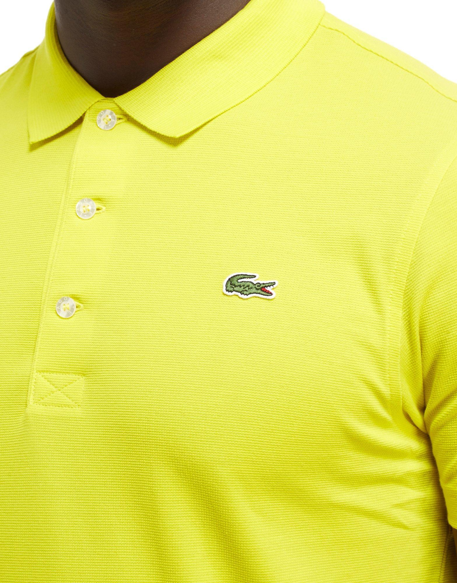 Lacoste alligator polo shirt in yellow for men lyst for Lacoste shirts with big alligator