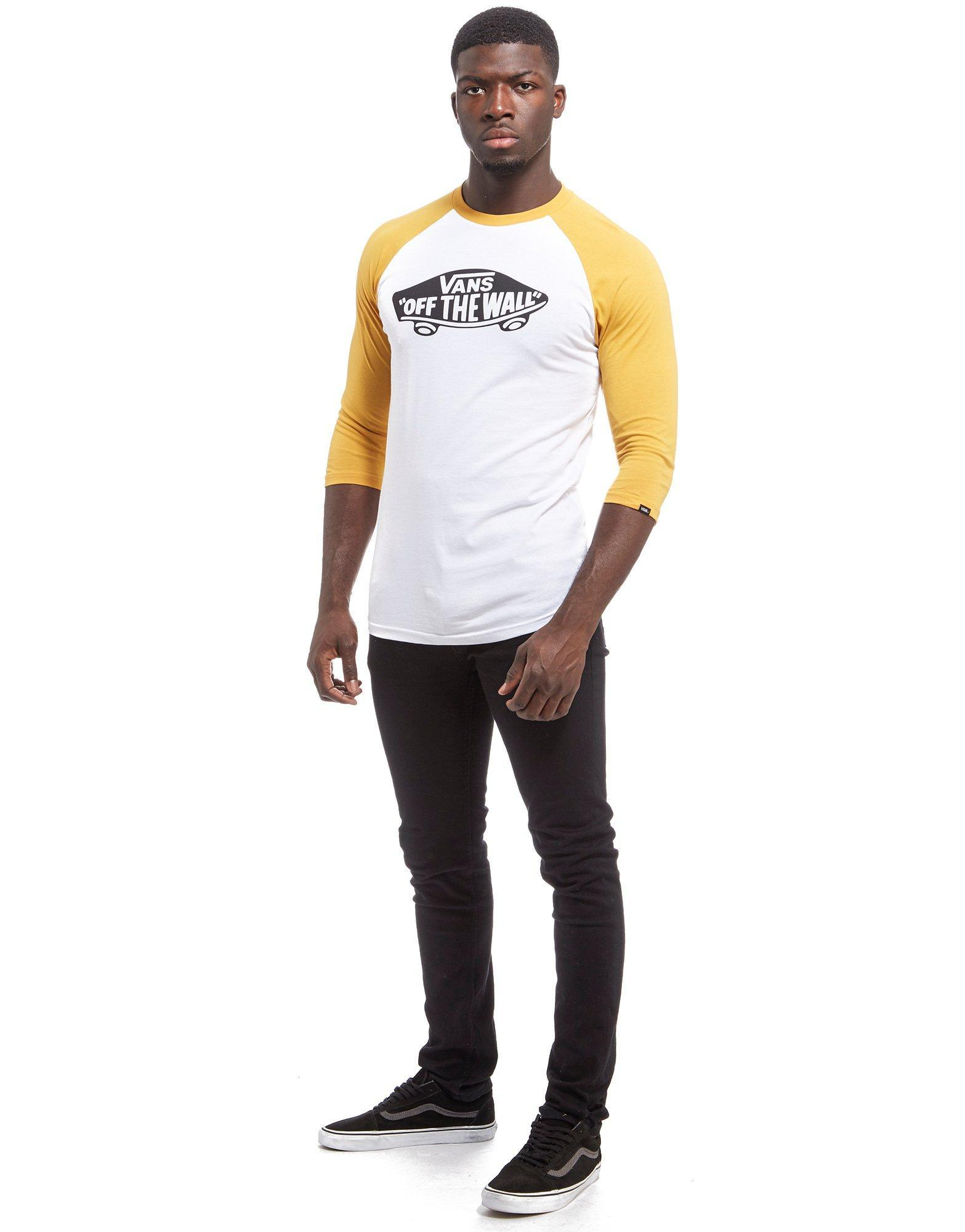 Vans Off The Wall Raglan Sleeve T Shirt In White For Men
