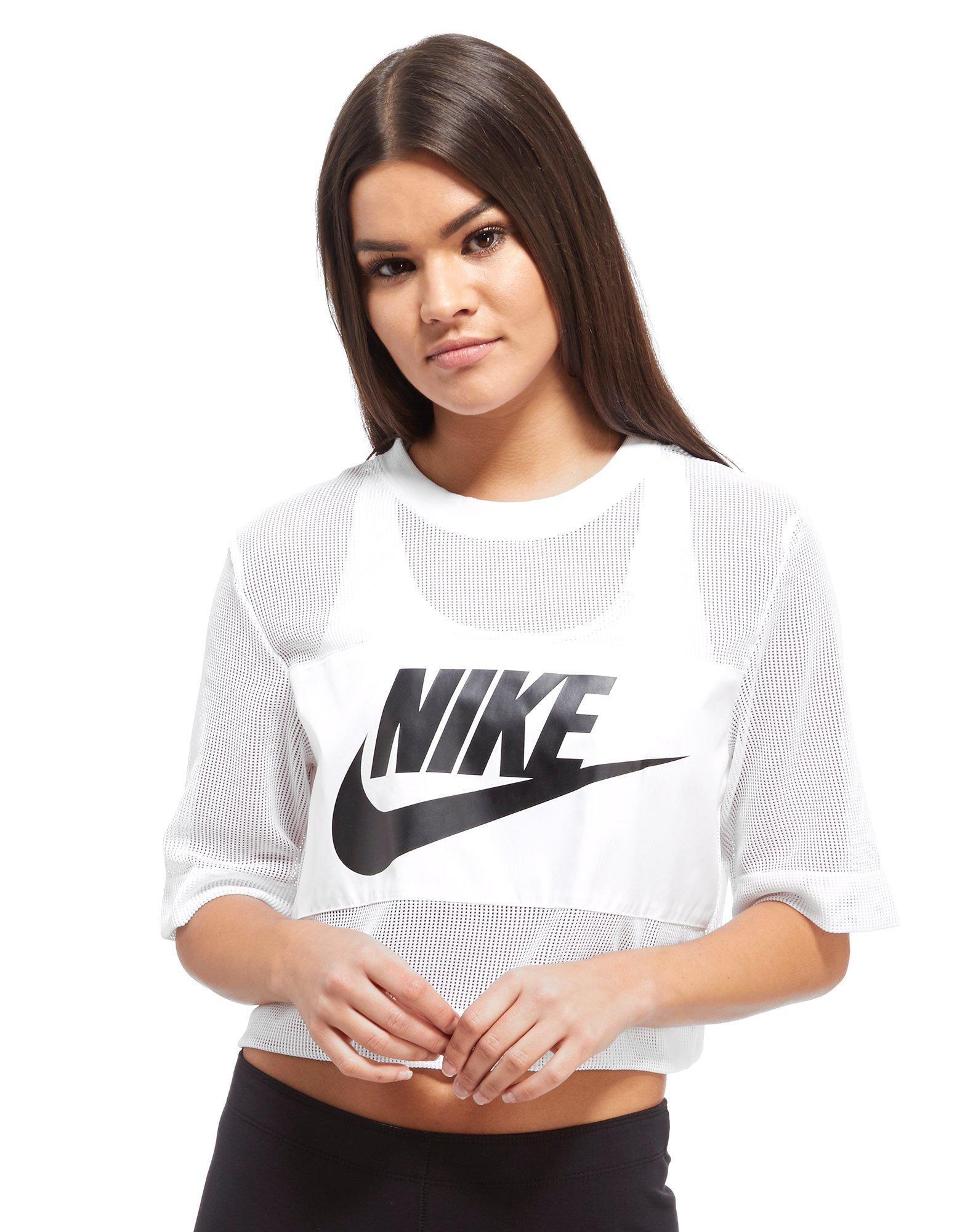 3f48e6084861e Lyst - Nike Mesh Panel Crop T-shirt in White