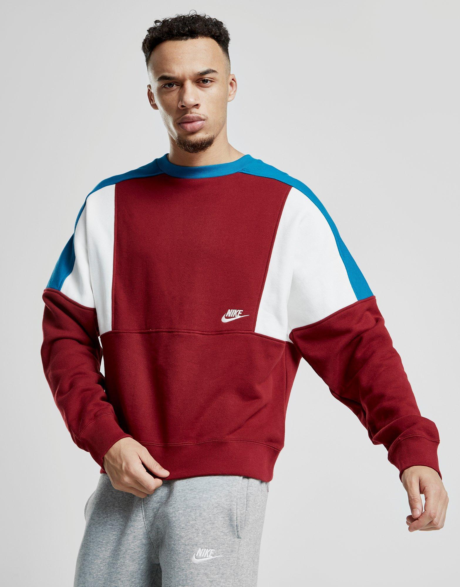 Nike Cotton Reissue Crew Sweatshirt In Red Blue Red For Men Lyst [ 2000 x 1567 Pixel ]
