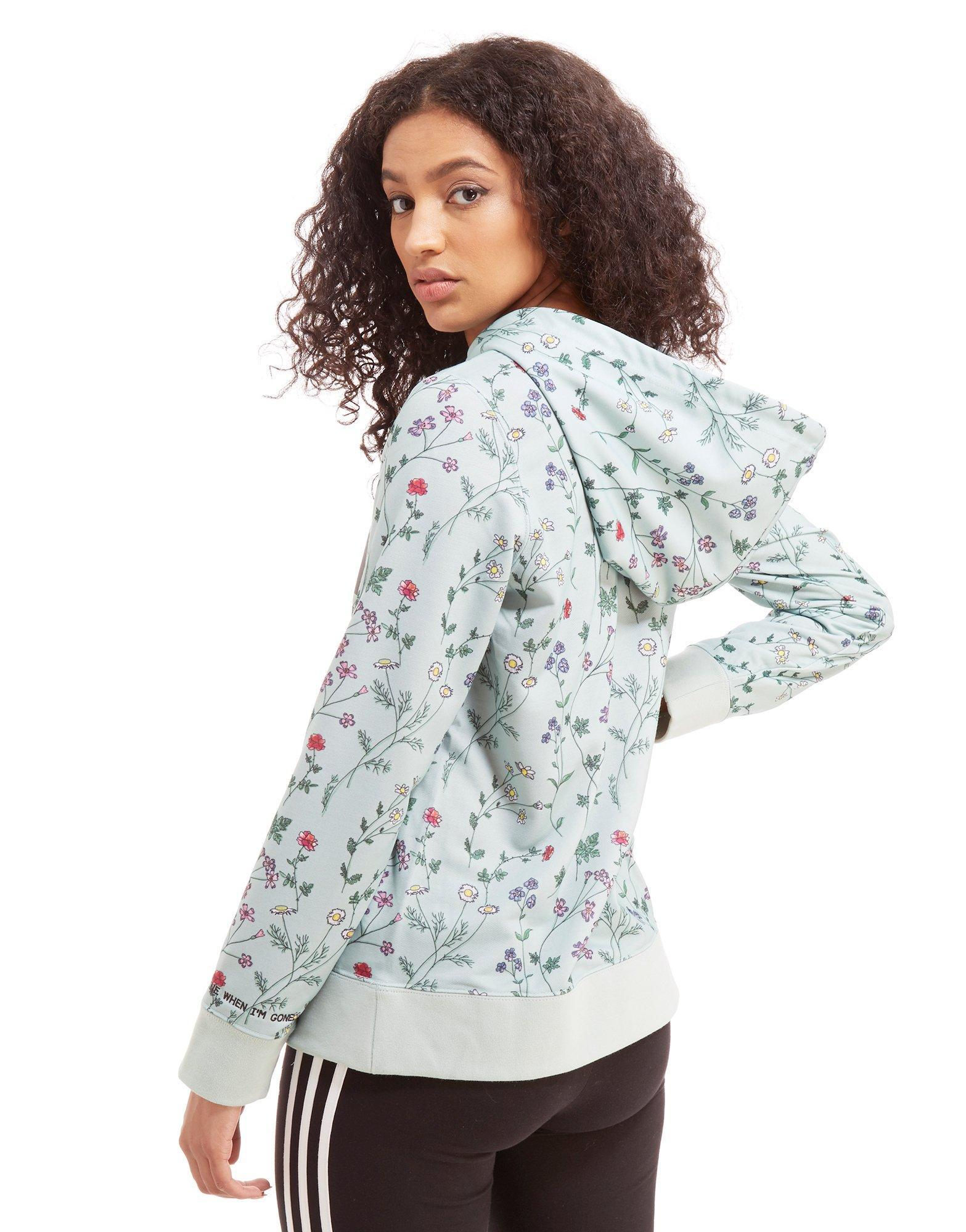 5c31ae67e670 Lyst - adidas Originals All Over Print Floral Overhead Hoodie in Green