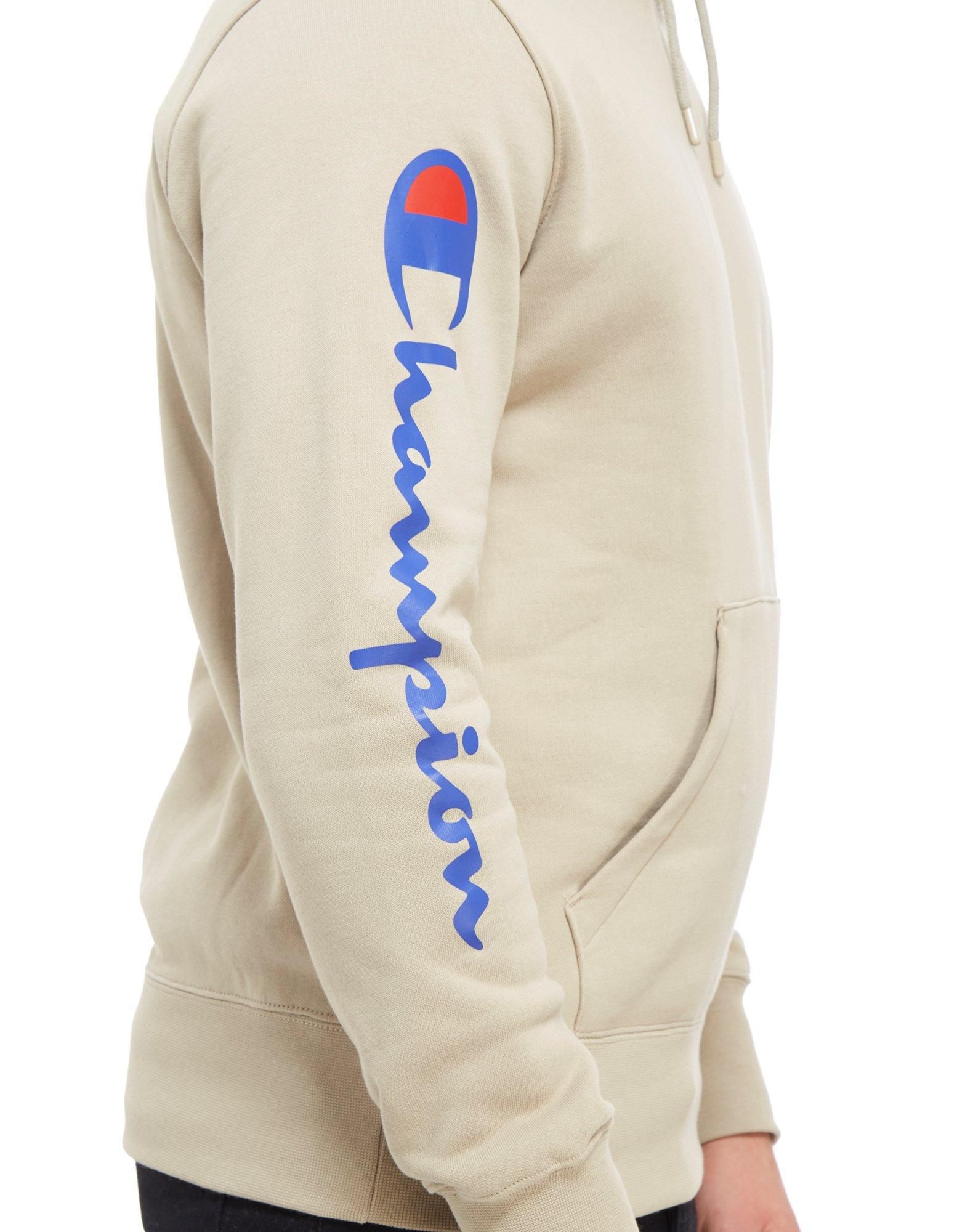 Champion Script Sleeve Hoodie In Natural For Men Lyst