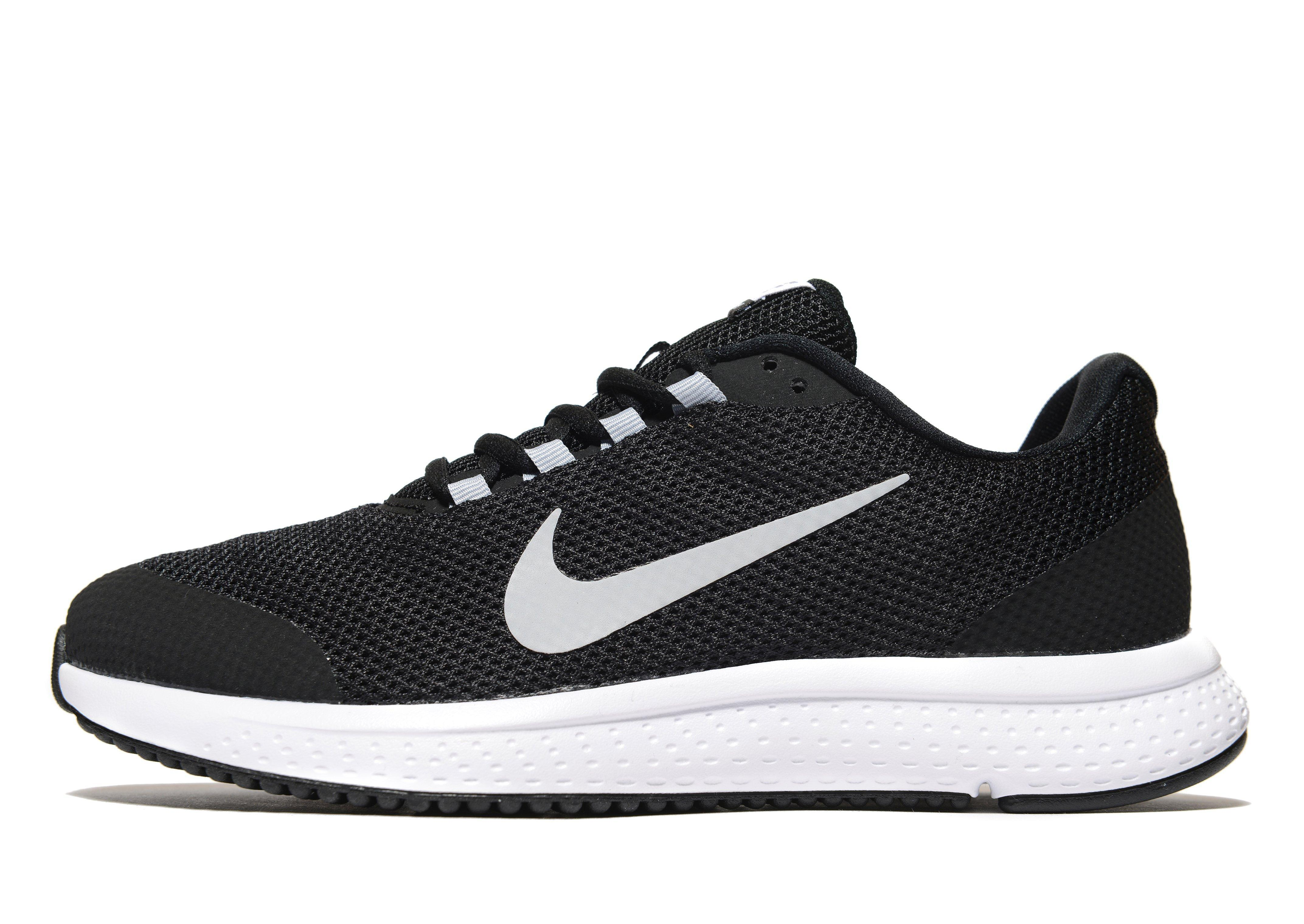 Black With Red Nike Swoosh Running Shoes