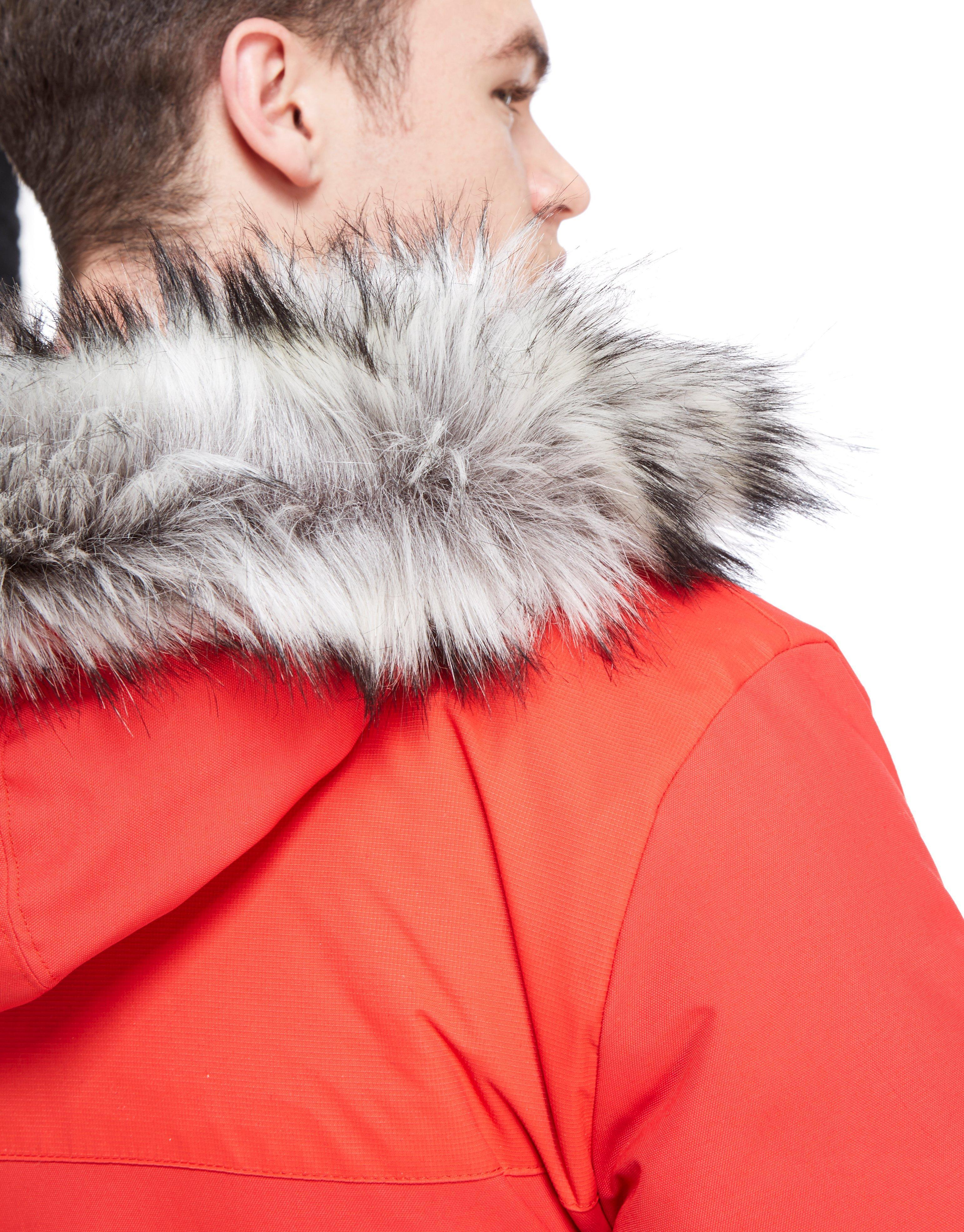 Lyst Adidas Originals Trefoil Fur Parka Jacket In Red