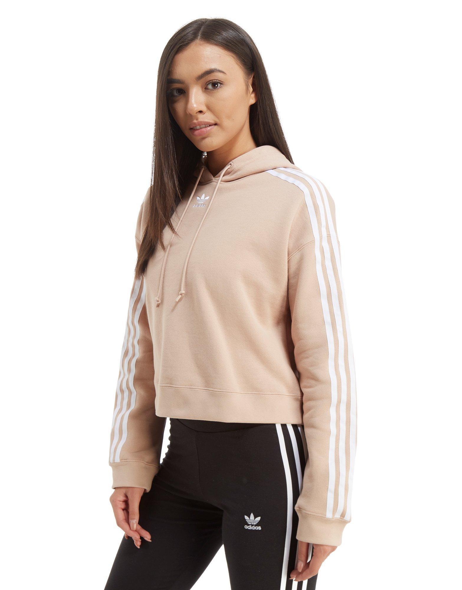 6726eedb Adidas Originals Pink 3-stripes Crop Overhead Hoodie