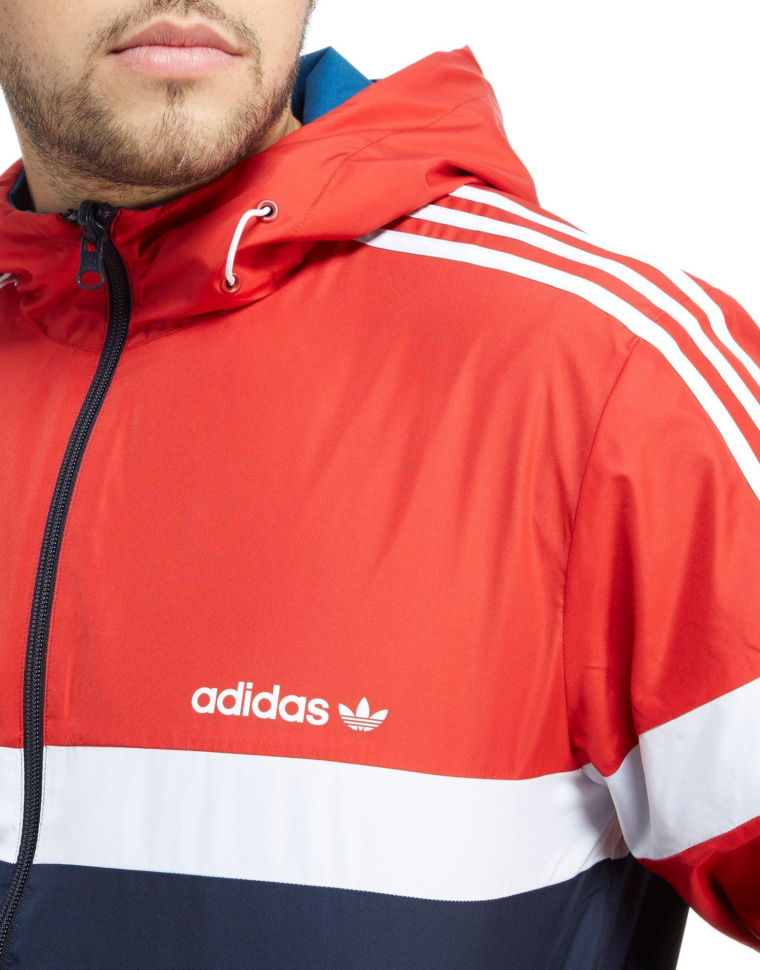 adidas Originals Synthetic Itasca Collection Reversible Windbreaker Jacket in Scarlet/Navy/ White (Blue) for Men