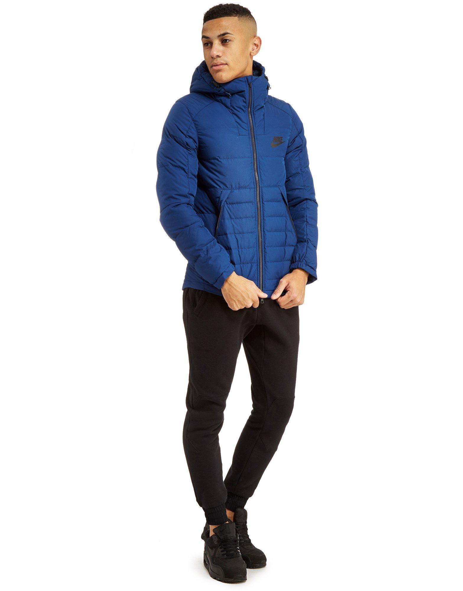 Nike Synthetic Padded Down Jacket in Blue for Men