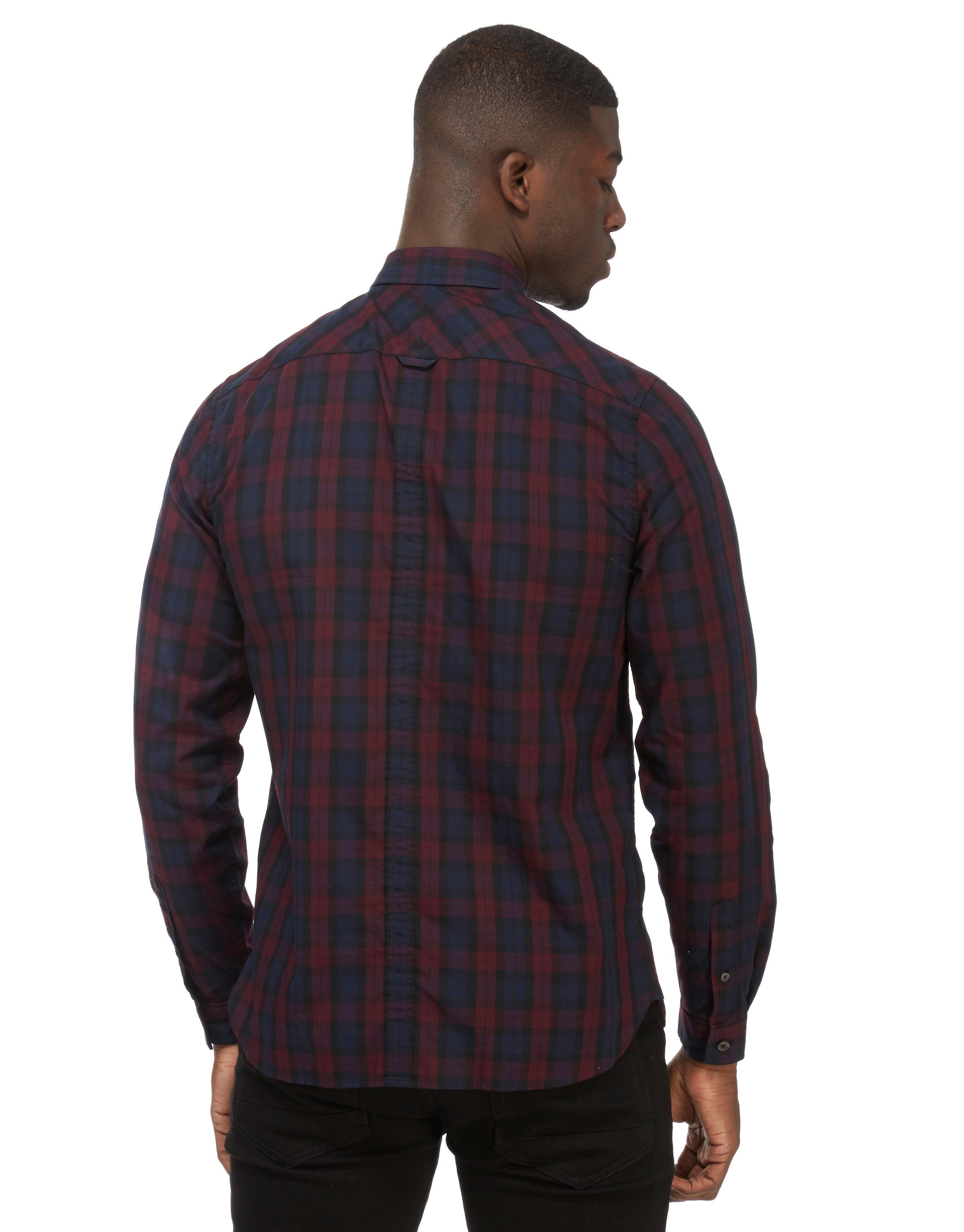 fred perry winter tartan plaid shirt in blue for men lyst. Black Bedroom Furniture Sets. Home Design Ideas