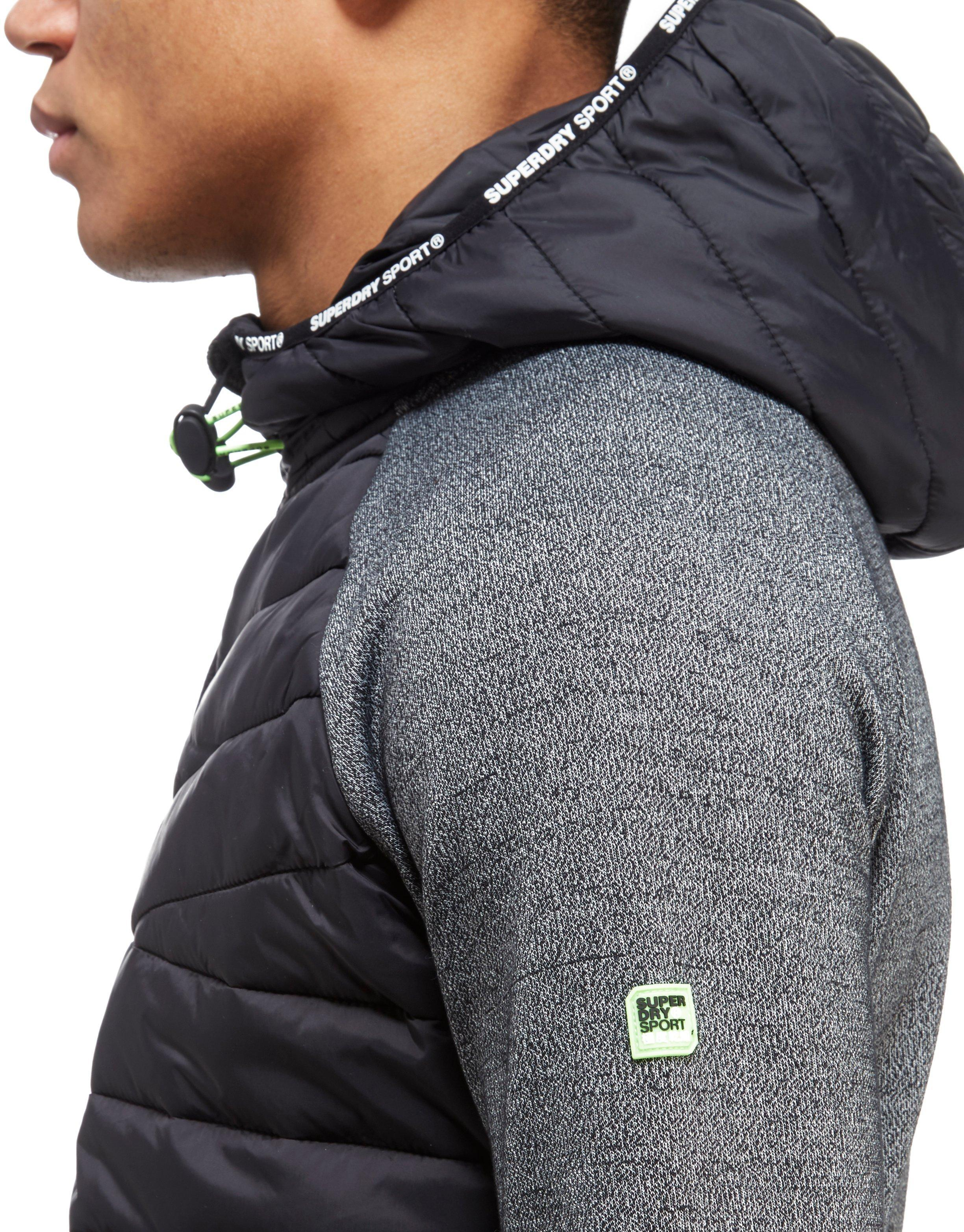 Superdry Synthetic Gym Tech Hybrid Zip Hooded Jacket in Black for Men