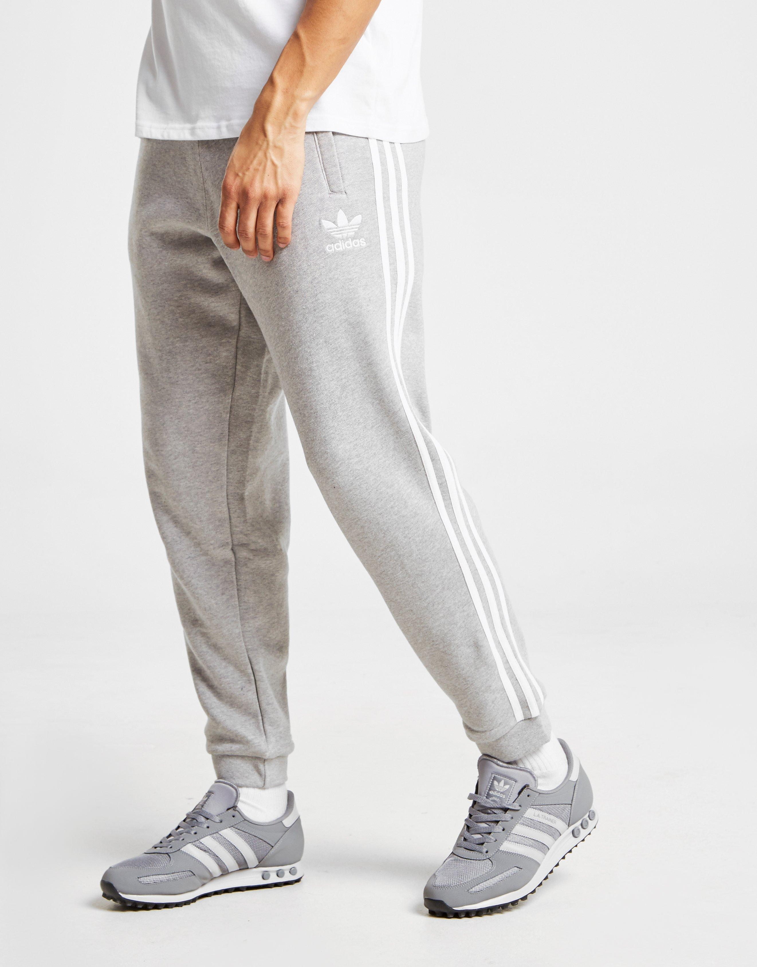 adidas 3 stripe fleece joggers