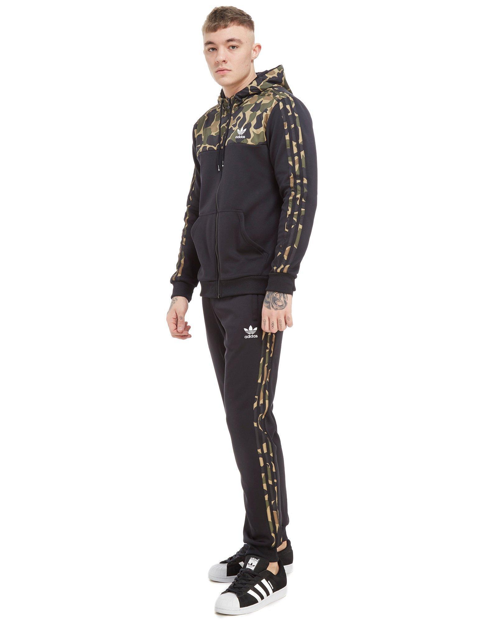 adidas Originals Cotton Trefoil Camo Pants in Black ...