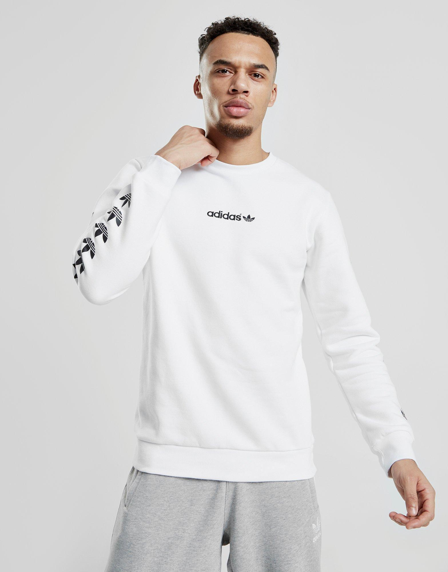 Adidas Originals White Tape Qqr Crew Sweatshirt for men