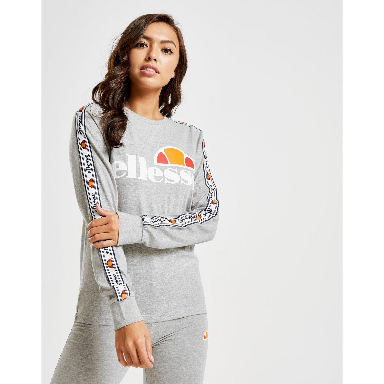 083bfdccf33 Ellesse - Gray Tape Long Sleeve Boyfriend T-shirt - Lyst. View fullscreen
