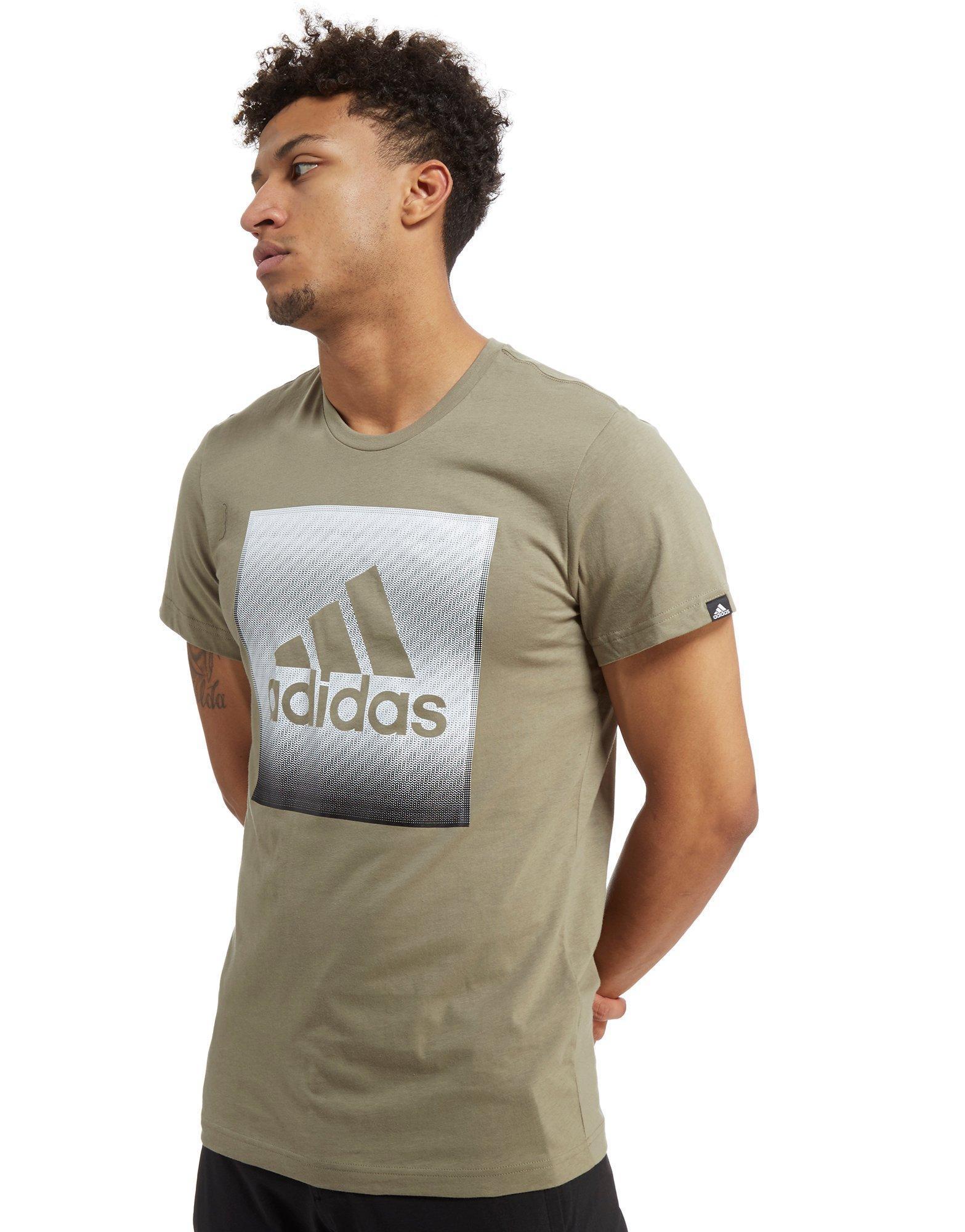 Adidas. Men's Natural Faded Box Logo T-shirt