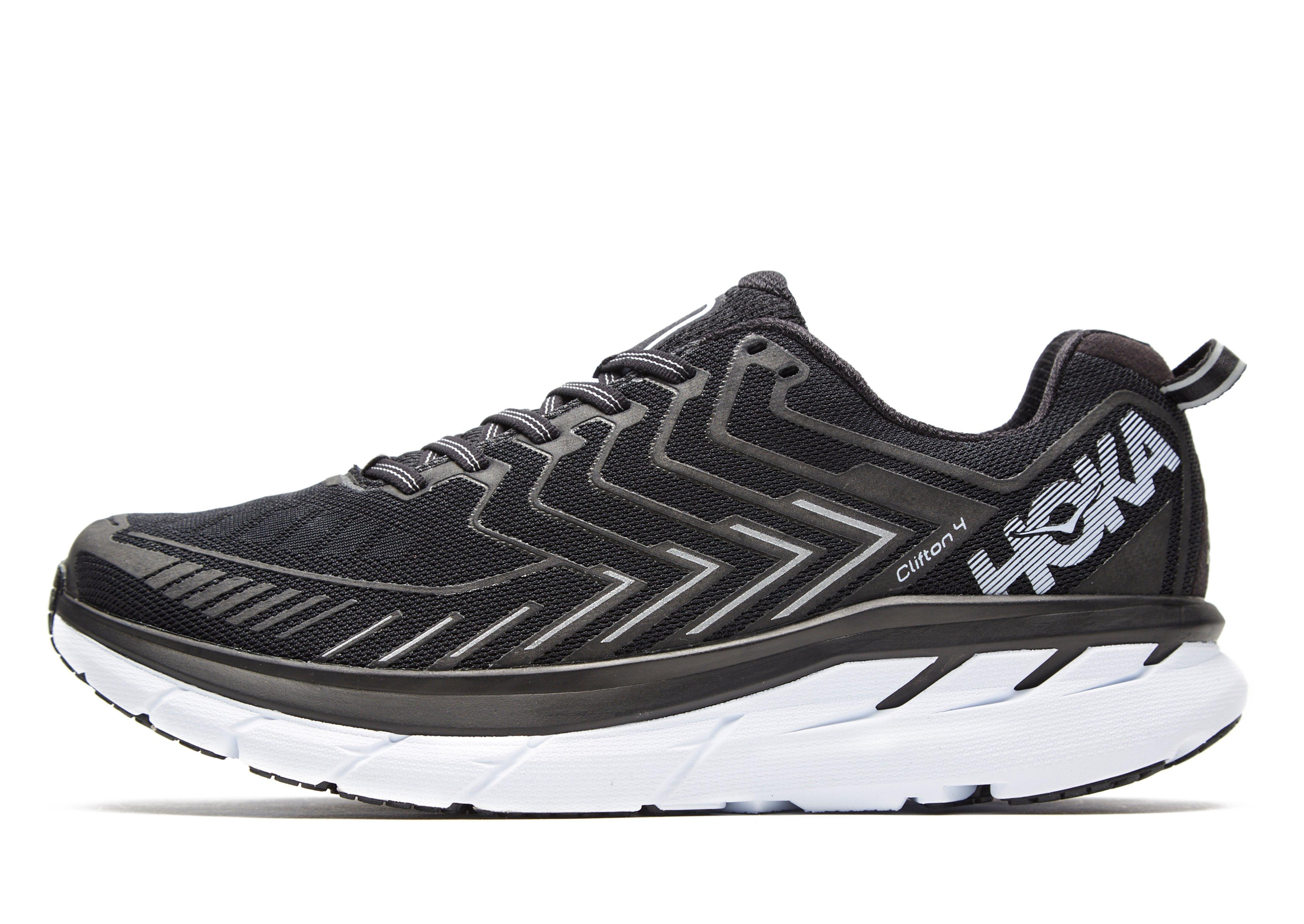 Hoka One One Synthetic Clifton 4 Running Shoes In Black