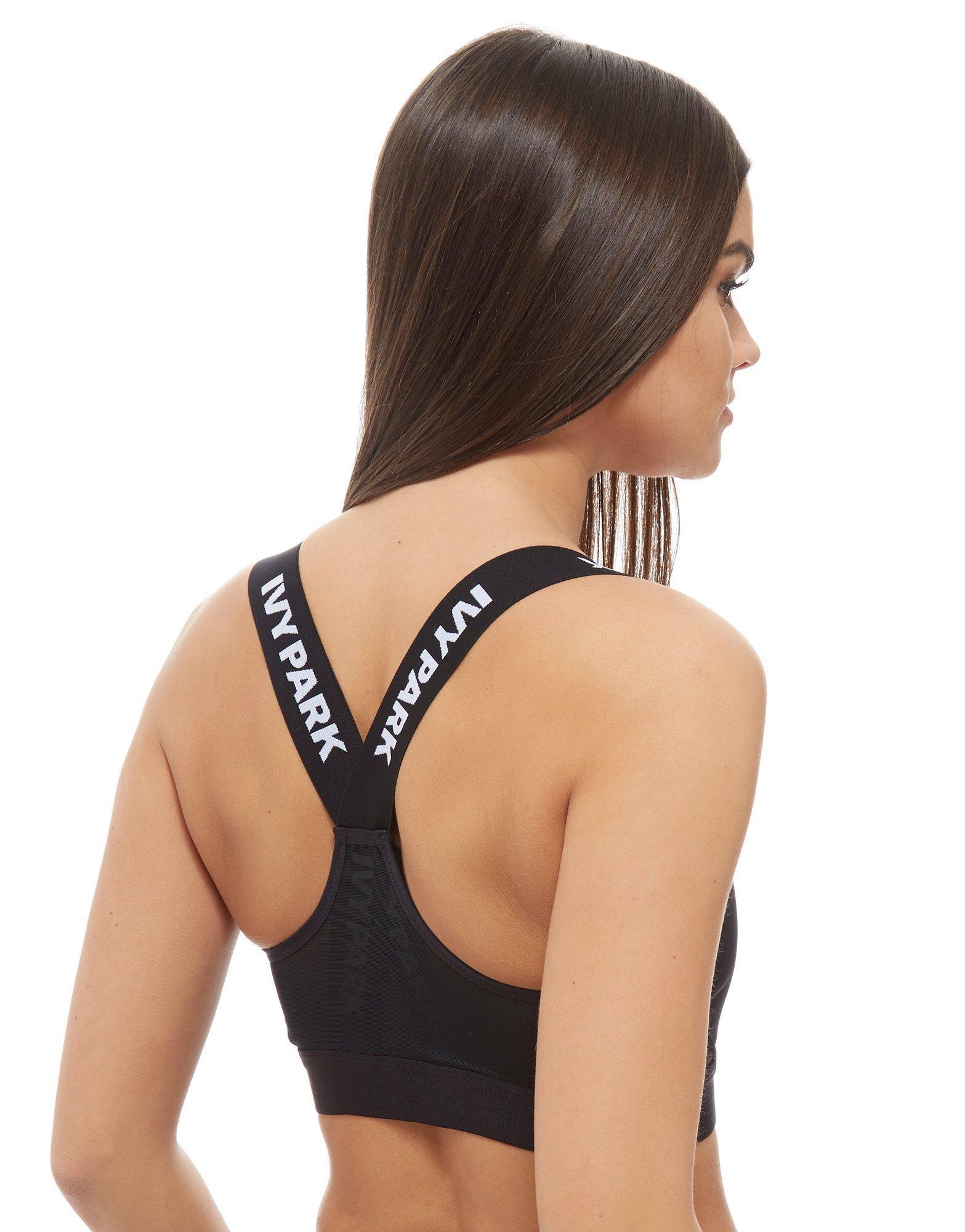 908bf75a2c576 Lyst - Ivy Park Logo Tape Bra in Black