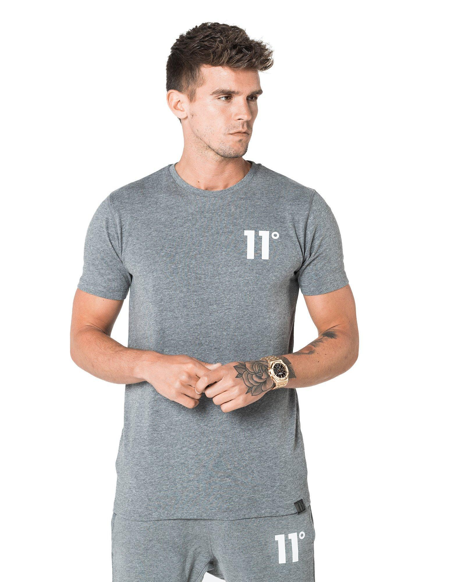 Lyst 11 Degrees Core Small Logo T Shirt In Gray For Men