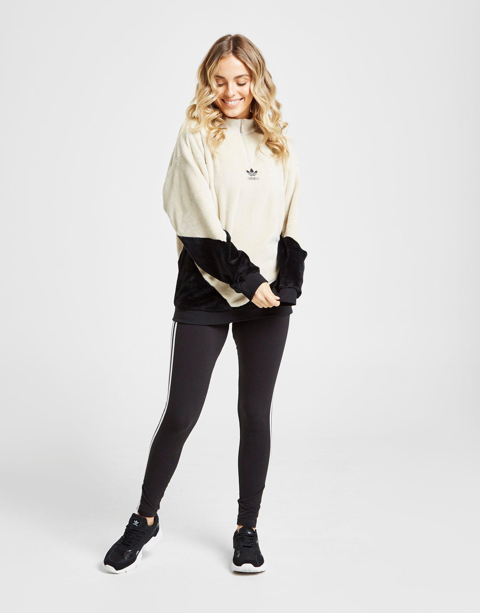 adidas essential 1/4 fleece track top womens