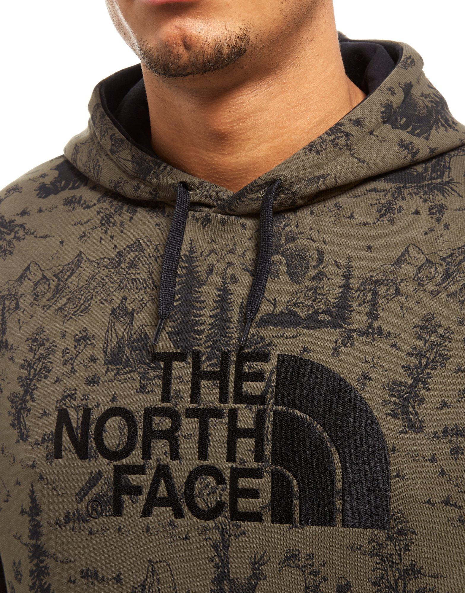 The North Face Cotton Drew Peak All Over Print Hoodie in Khaki/Black (Black) for Men