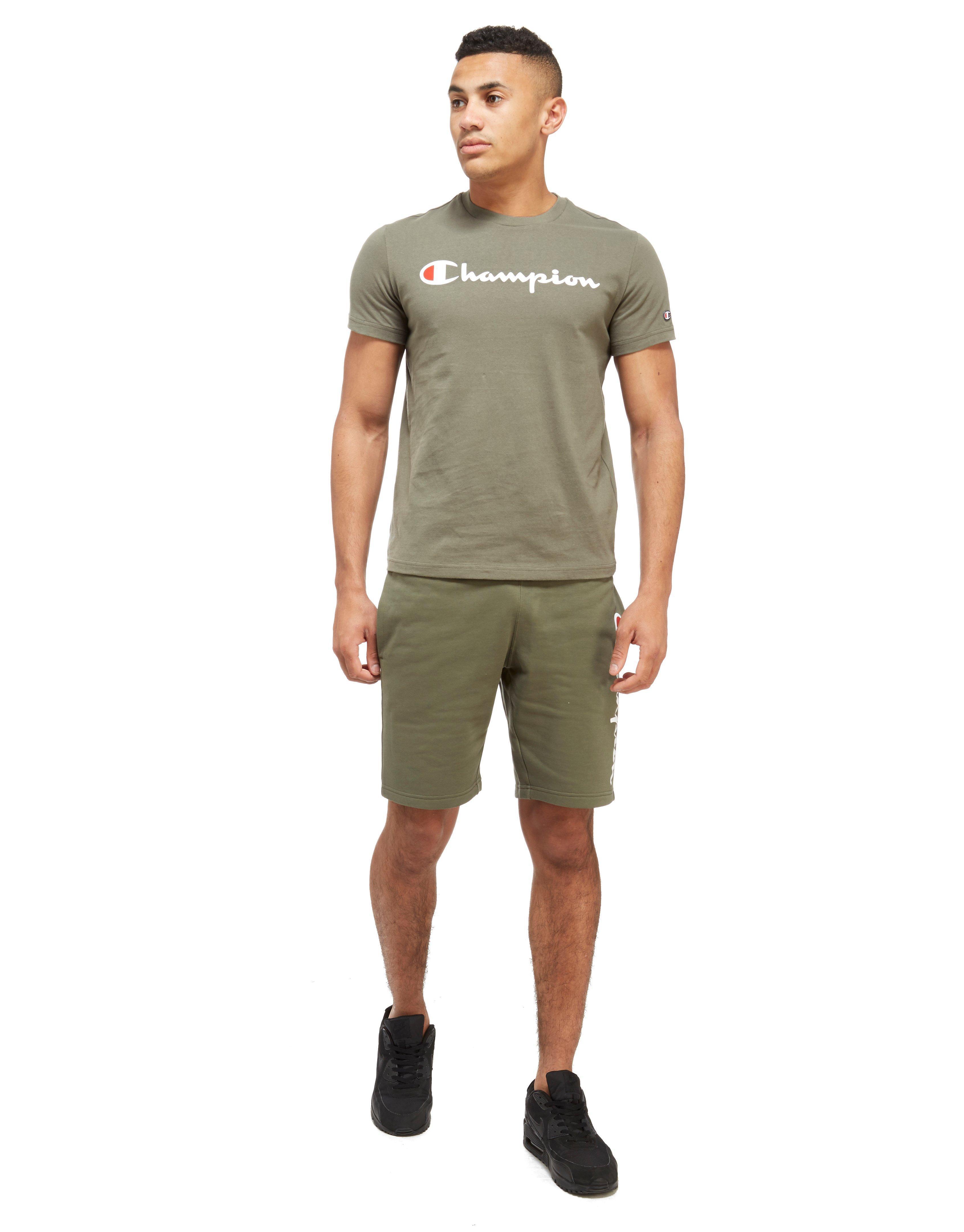 champion cotton core shorts in khaki green for men  lyst