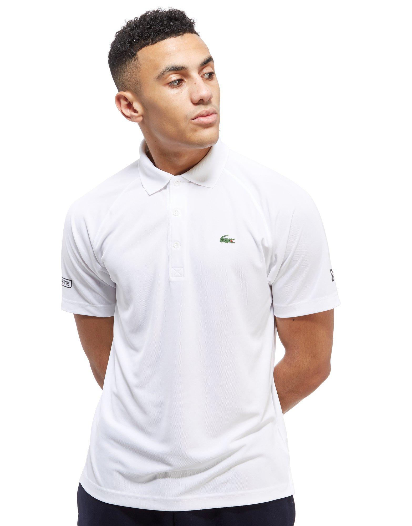 Lyst lacoste novak plain polo shirt in white for men for Boys lacoste polo shirt
