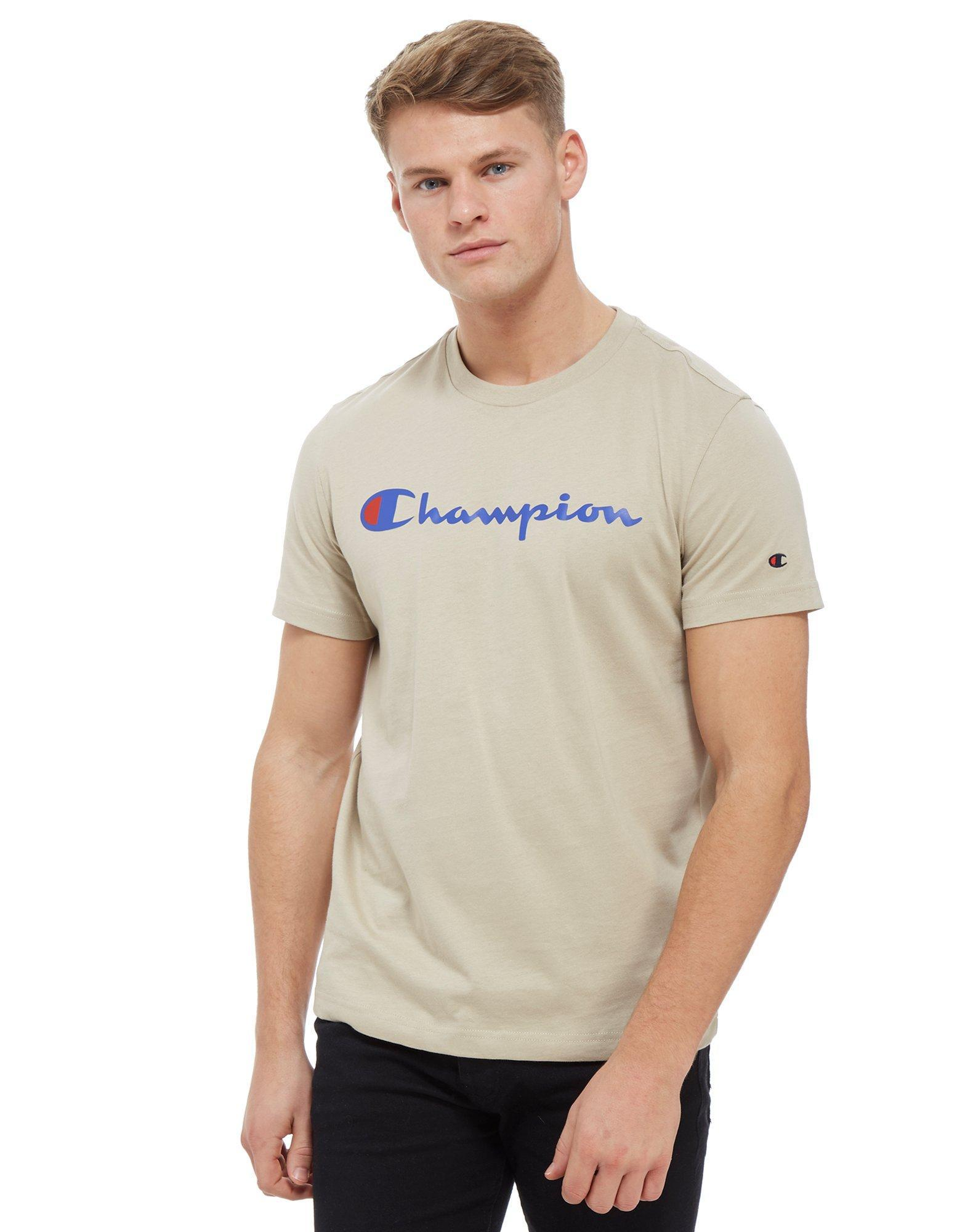 b9a883c81bc2 Champion Core Script T-shirt in Brown for Men - Lyst